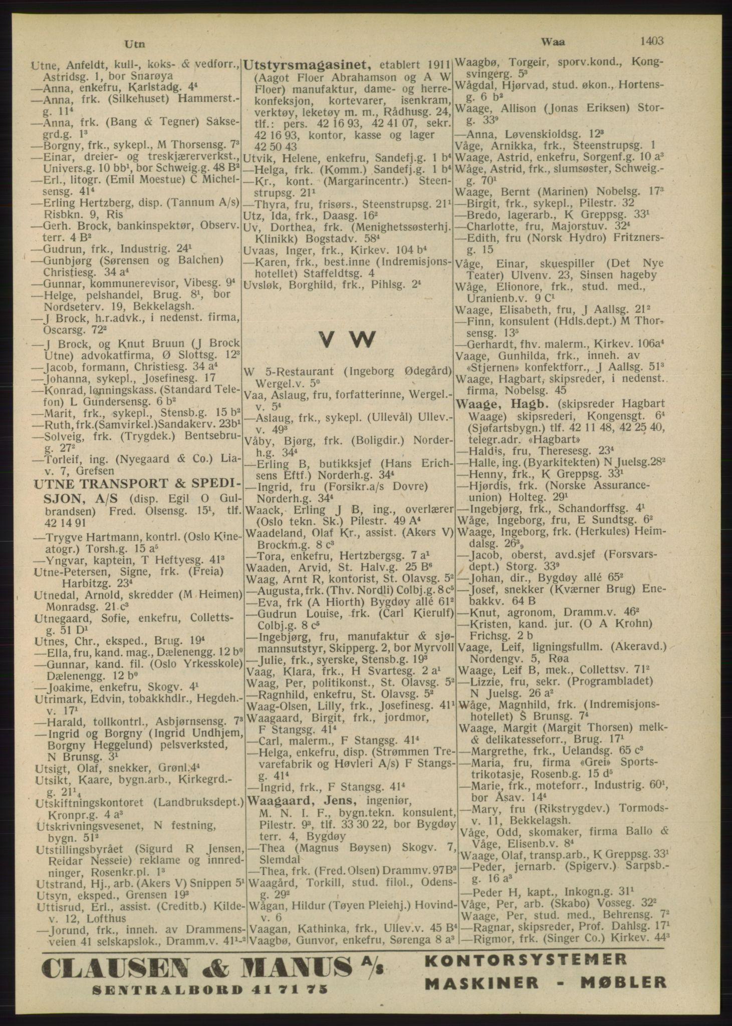 RA, Oslo adressebok (publikasjon)*, 1948, s. 1403