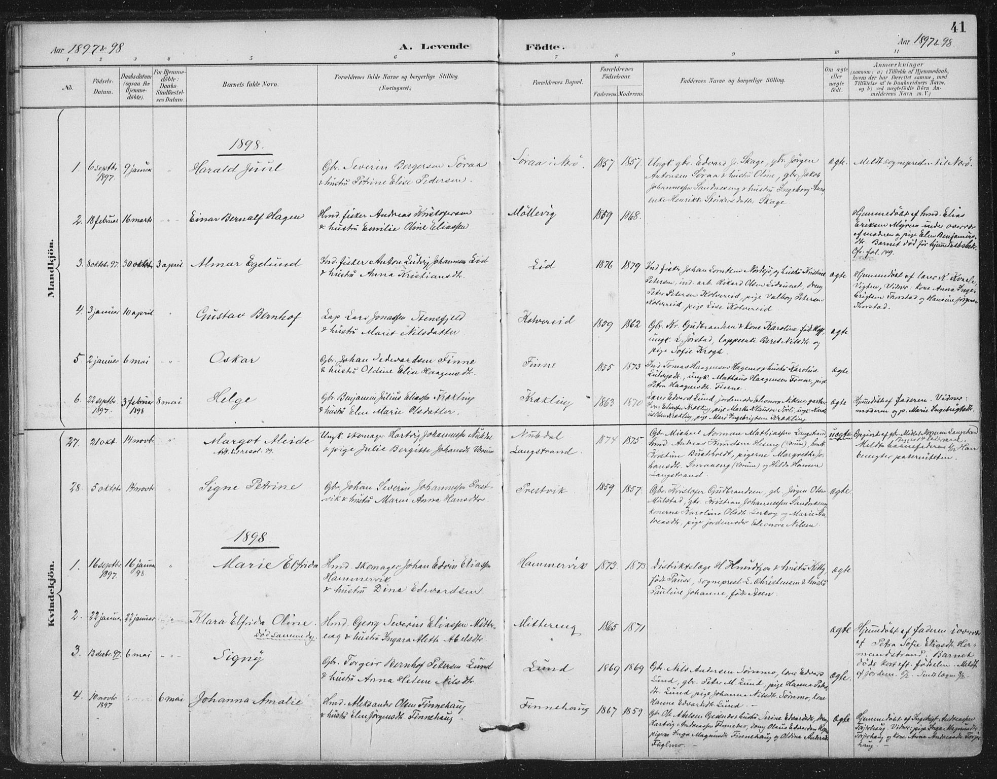 SAT, Ministerialprotokoller, klokkerbøker og fødselsregistre - Nord-Trøndelag, 780/L0644: Ministerialbok nr. 780A08, 1886-1903, s. 41