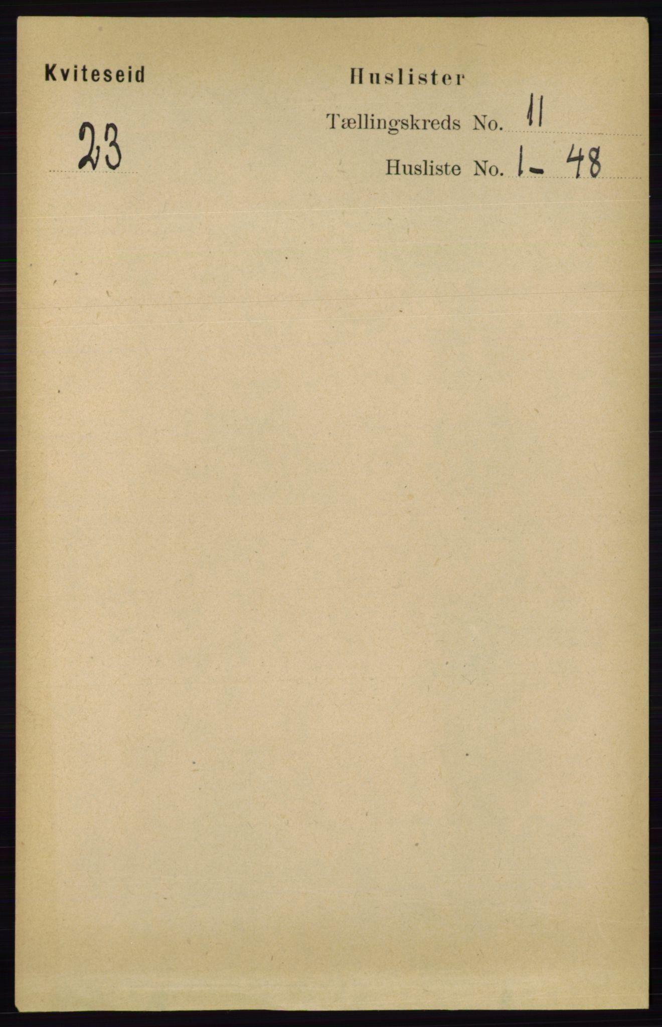 RA, Folketelling 1891 for 0829 Kviteseid herred, 1891, s. 2498