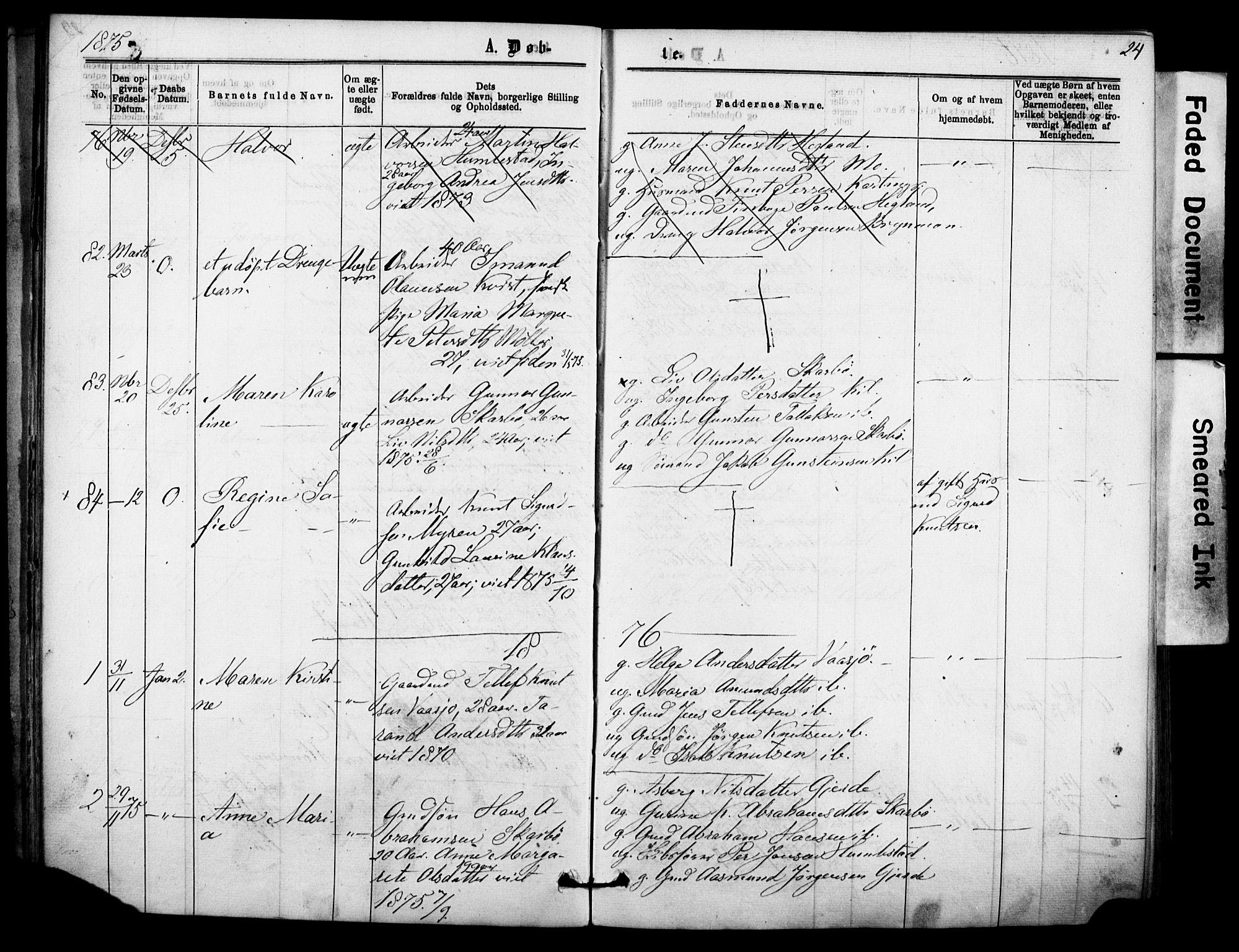 SAKO, Sannidal kirkebøker, F/Fa/L0014: Ministerialbok nr. 14, 1874-1883, s. 24