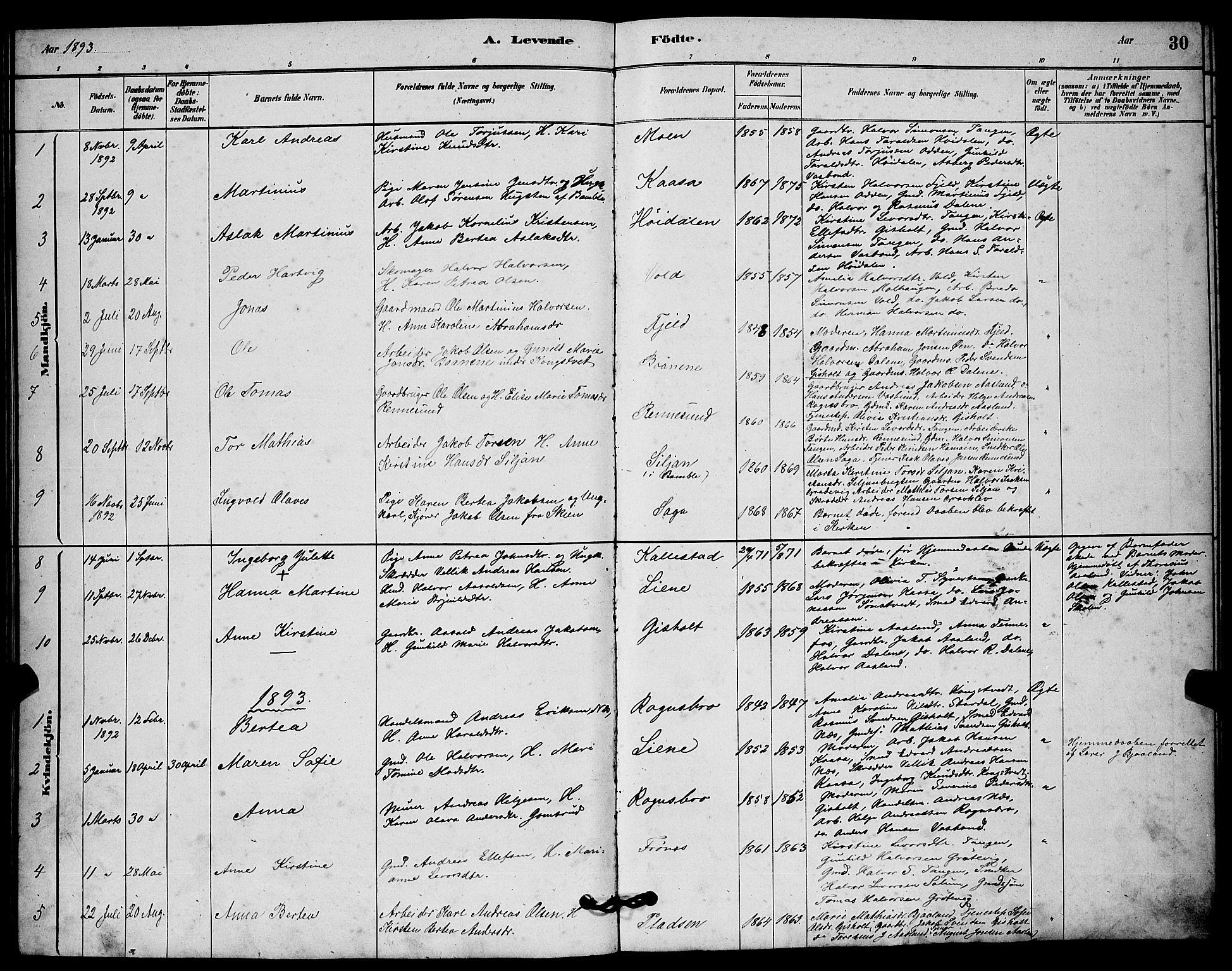 SAKO, Solum kirkebøker, G/Gc/L0001: Klokkerbok nr. III 1, 1880-1902, s. 30