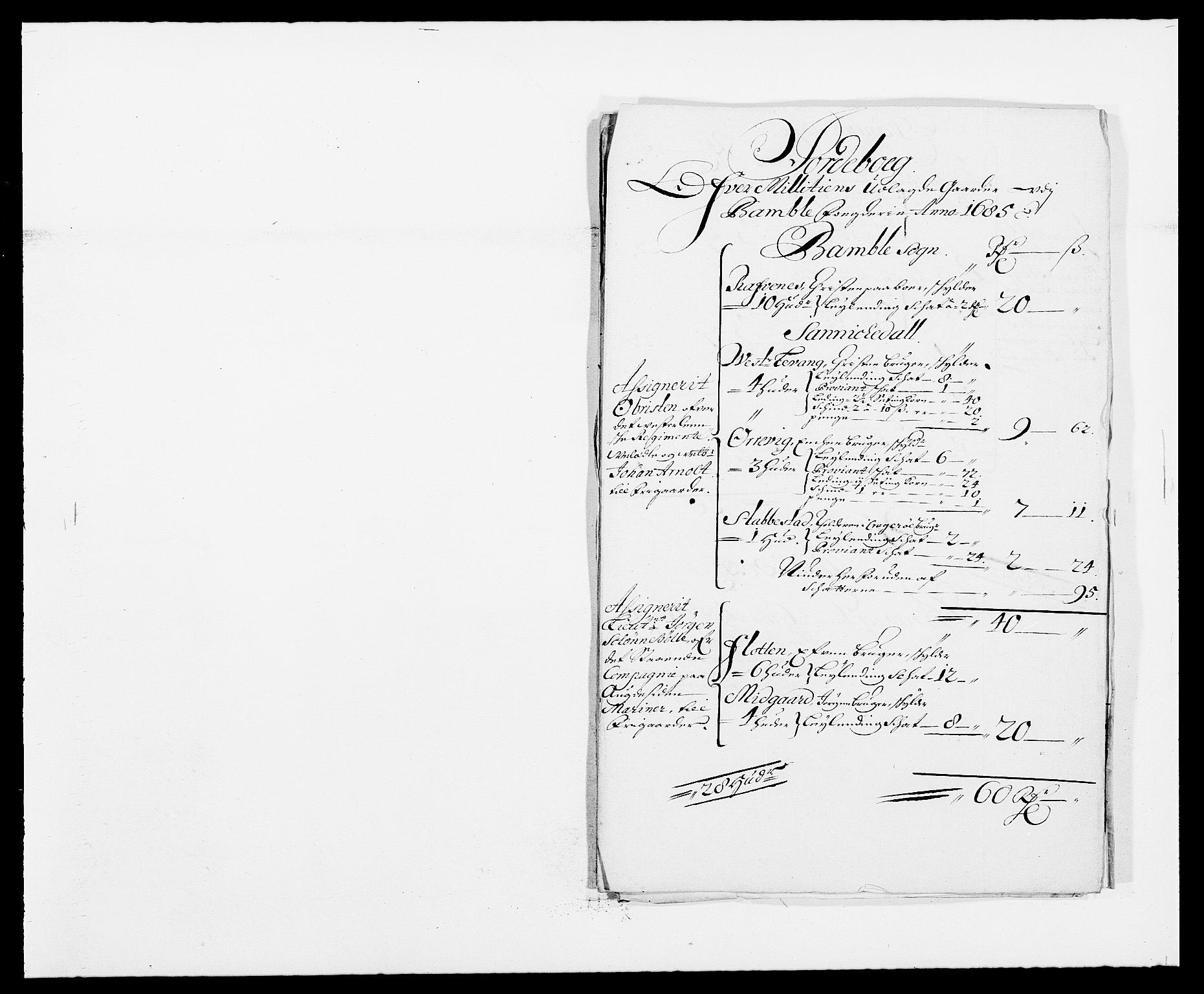 RA, Rentekammeret inntil 1814, Reviderte regnskaper, Fogderegnskap, R34/L2048: Fogderegnskap Bamble, 1685-1687, s. 183