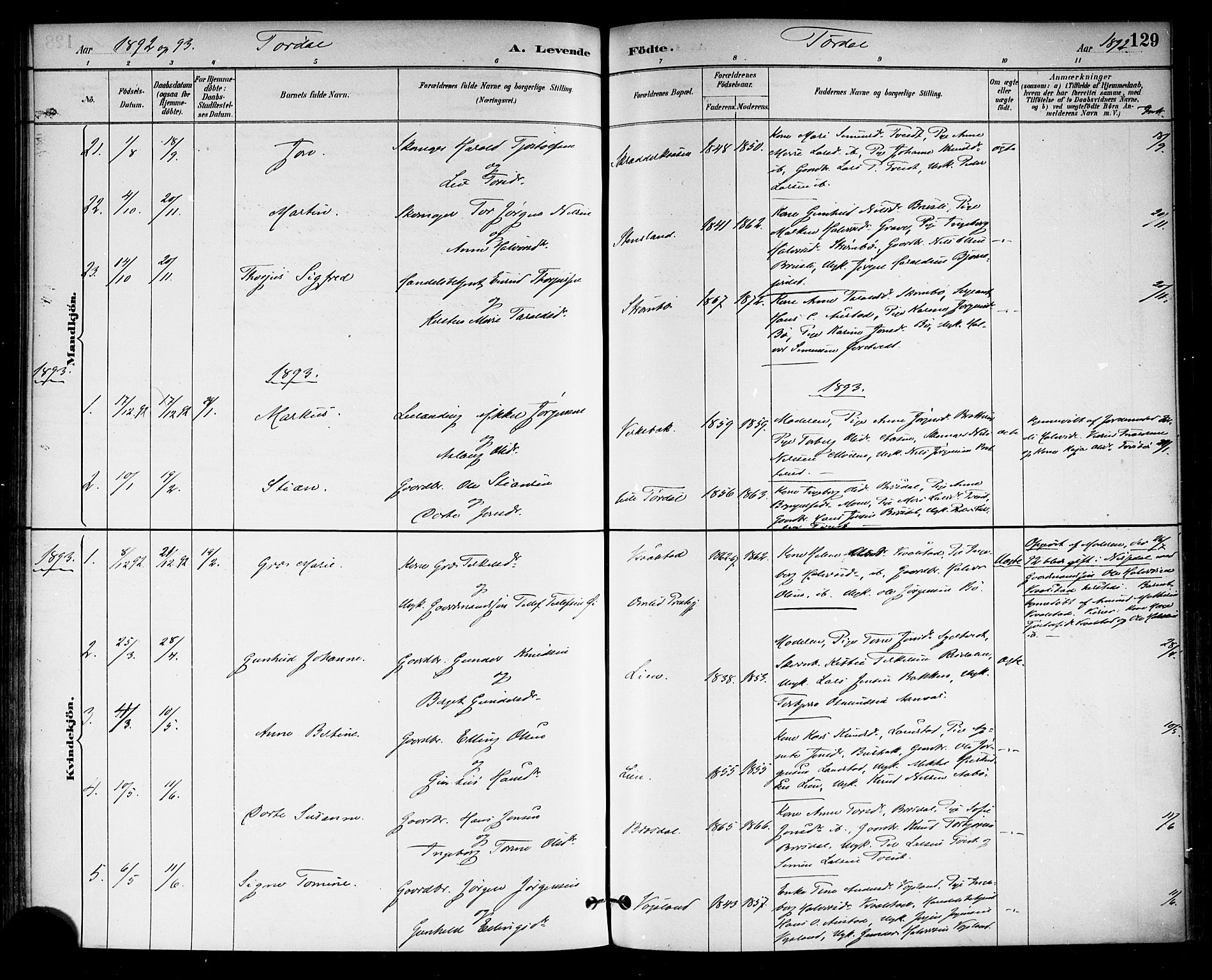 SAKO, Drangedal kirkebøker, F/Fa/L0010: Ministerialbok nr. 10 /2, 1885-1894, s. 129