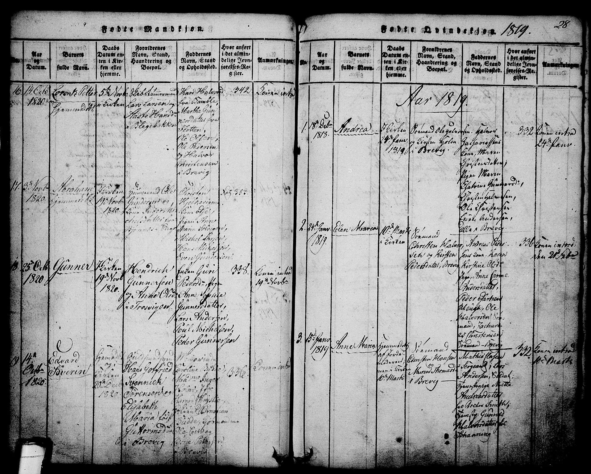 SAKO, Brevik kirkebøker, G/Ga/L0001: Klokkerbok nr. 1, 1814-1845, s. 28