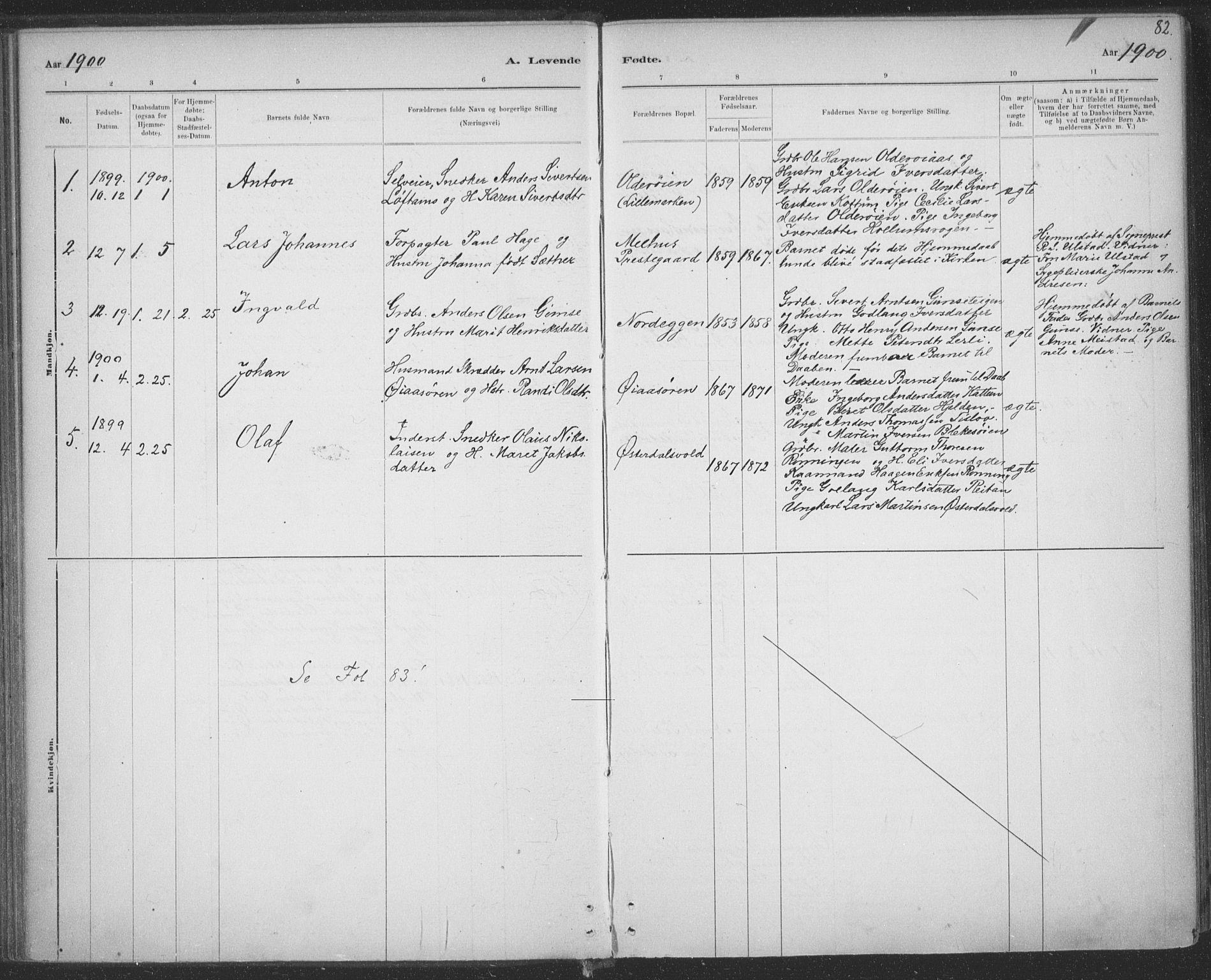 SAT, Ministerialprotokoller, klokkerbøker og fødselsregistre - Sør-Trøndelag, 691/L1085: Ministerialbok nr. 691A17, 1887-1908, s. 82