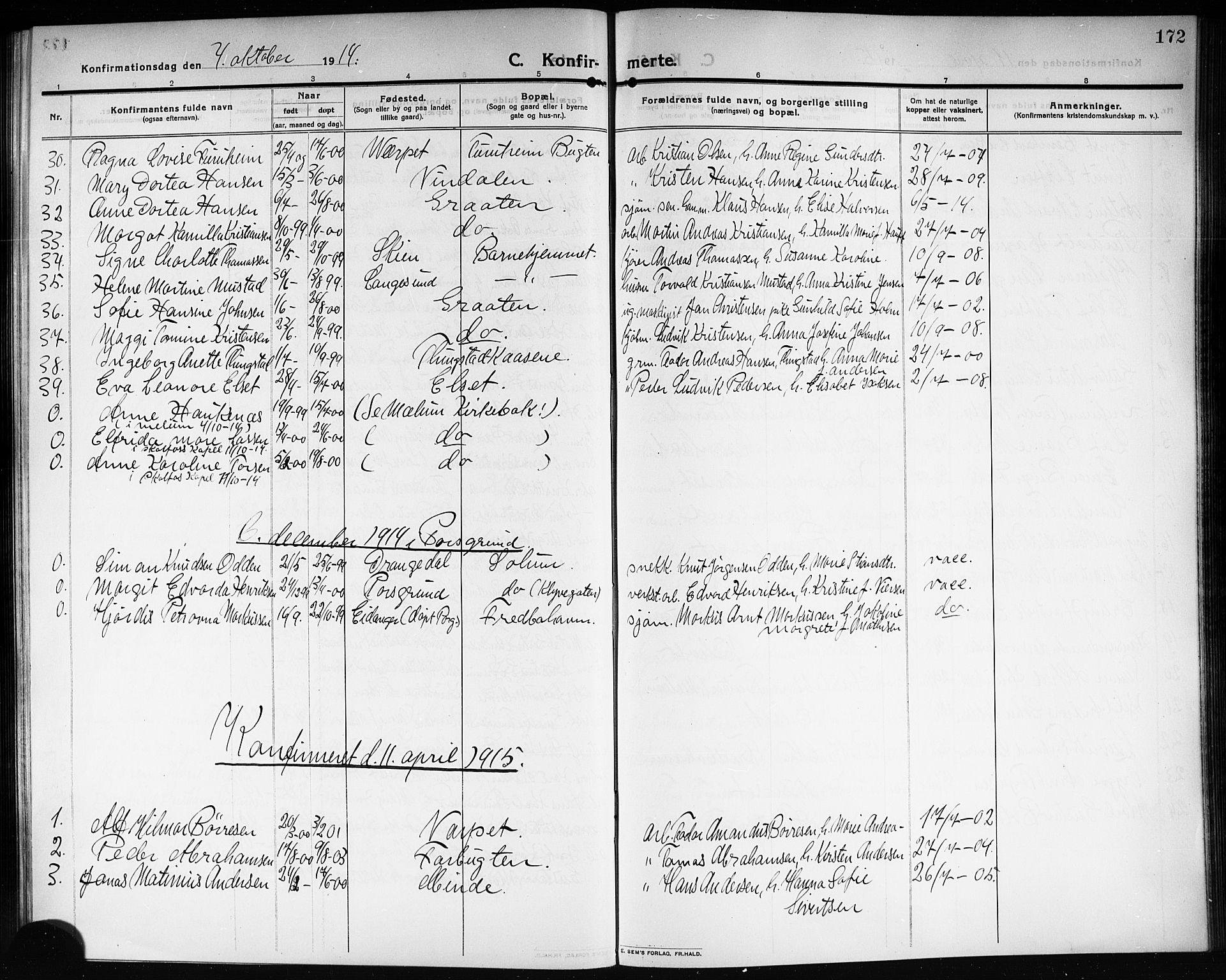 SAKO, Solum kirkebøker, G/Ga/L0009: Klokkerbok nr. I 9, 1909-1922, s. 172