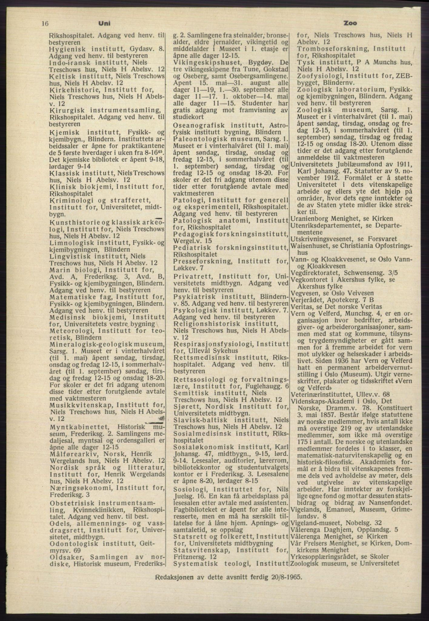 RA, Oslo adressebok (publikasjon)*, 1965-1966, s. 16