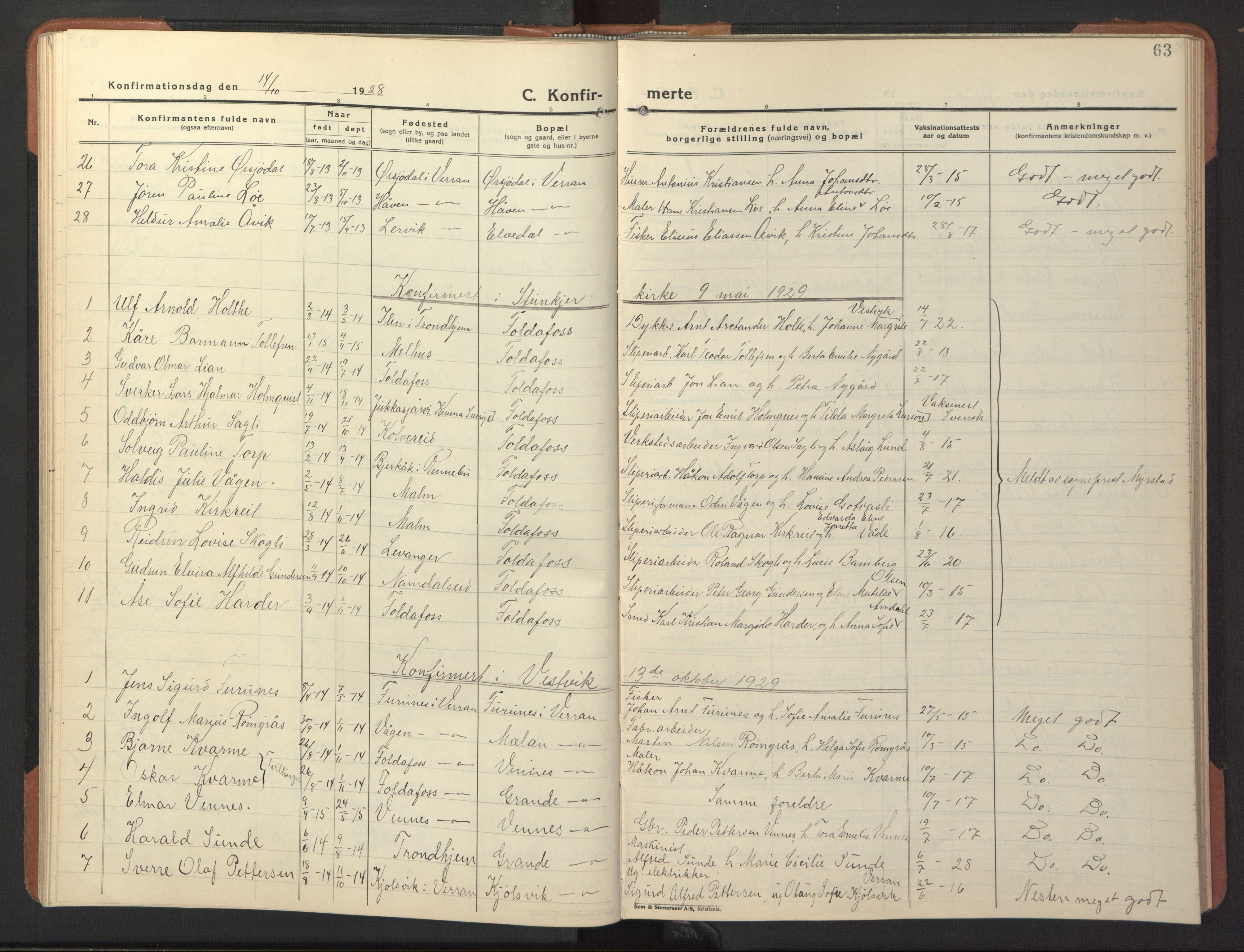 SAT, Ministerialprotokoller, klokkerbøker og fødselsregistre - Nord-Trøndelag, 744/L0425: Klokkerbok nr. 744C04, 1924-1947, s. 63