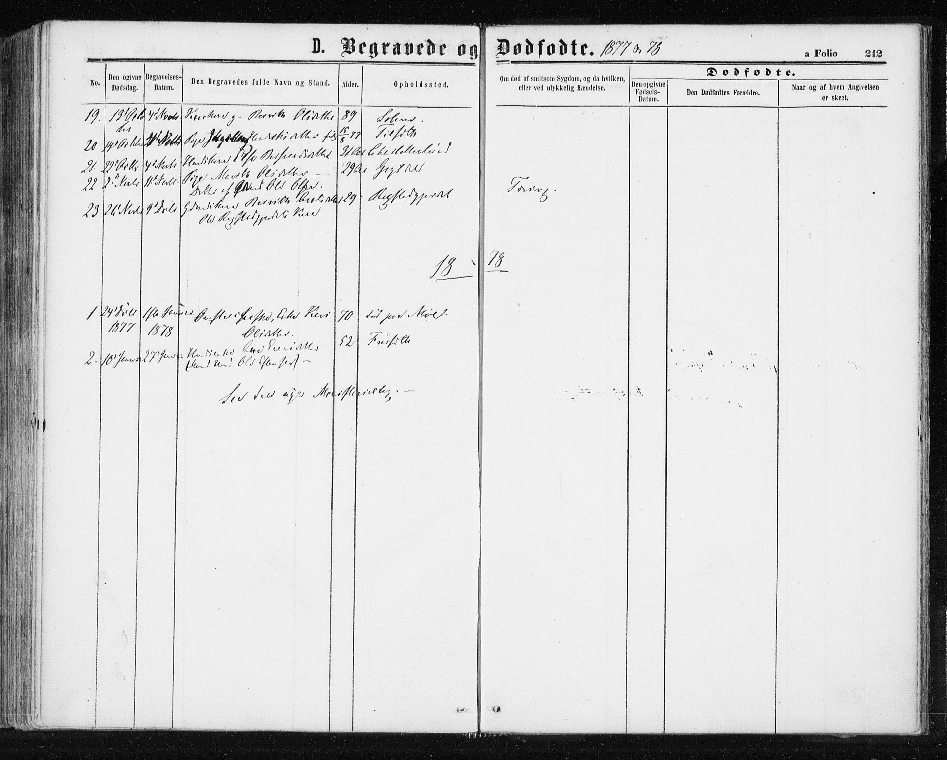 SAT, Ministerialprotokoller, klokkerbøker og fødselsregistre - Sør-Trøndelag, 687/L1001: Ministerialbok nr. 687A07, 1863-1878, s. 212