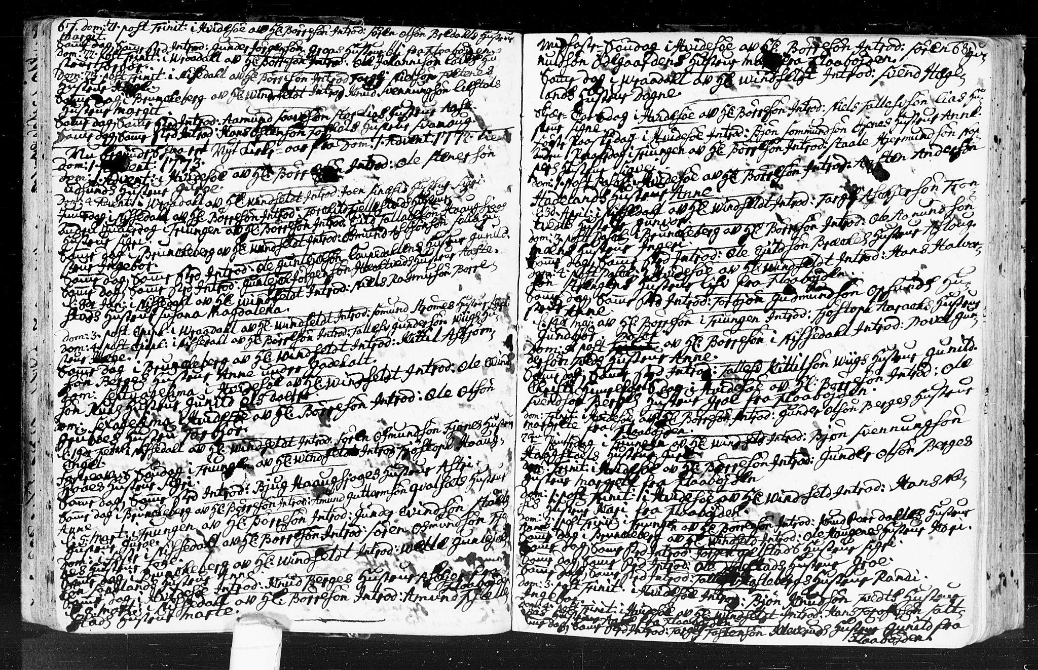 SAKO, Kviteseid kirkebøker, F/Fa/L0001: Ministerialbok nr. I 1, 1754-1773, s. 67-68