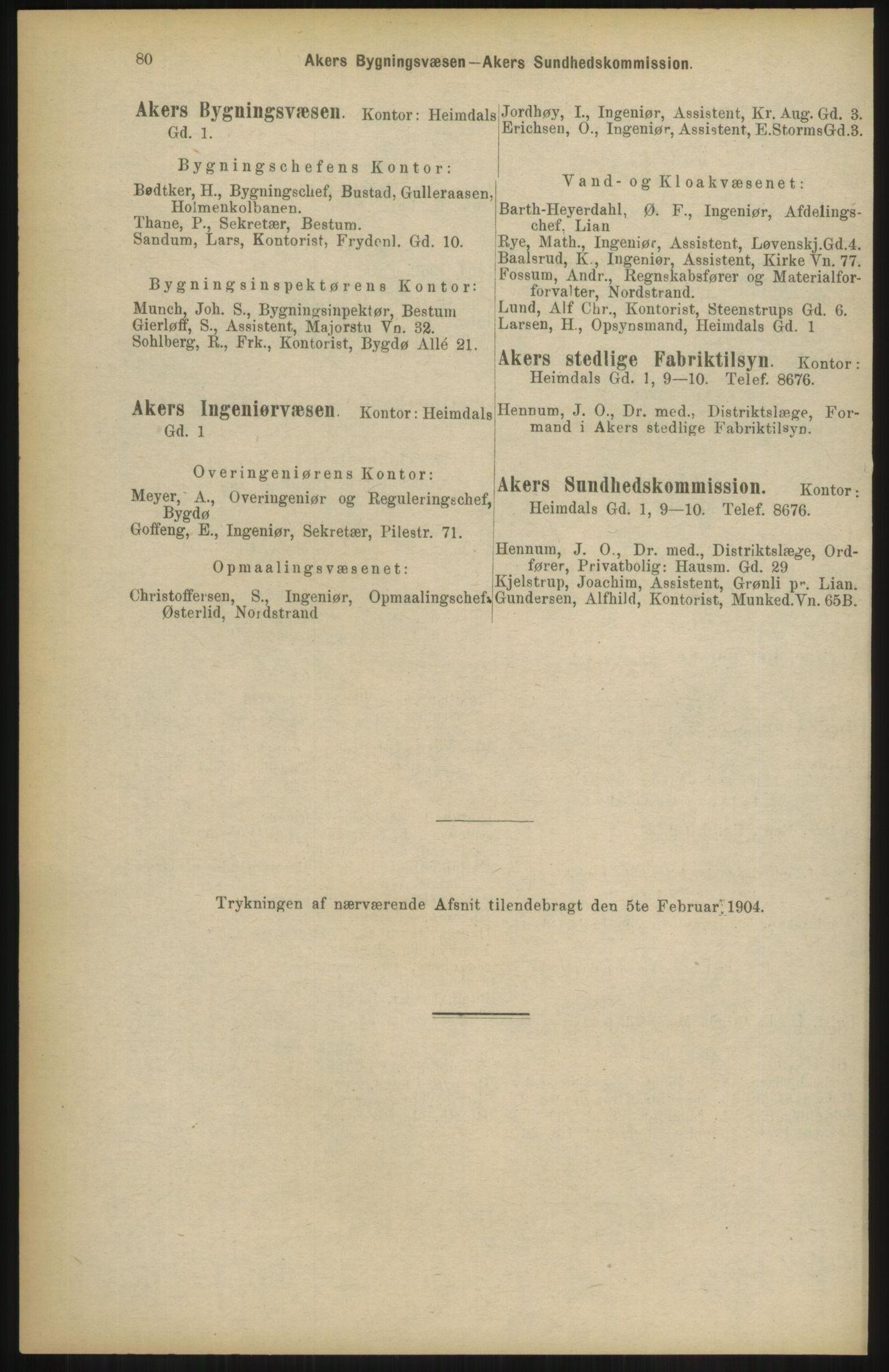 RA, Kristiania adressebok (publikasjon)*, 1904, s. 80