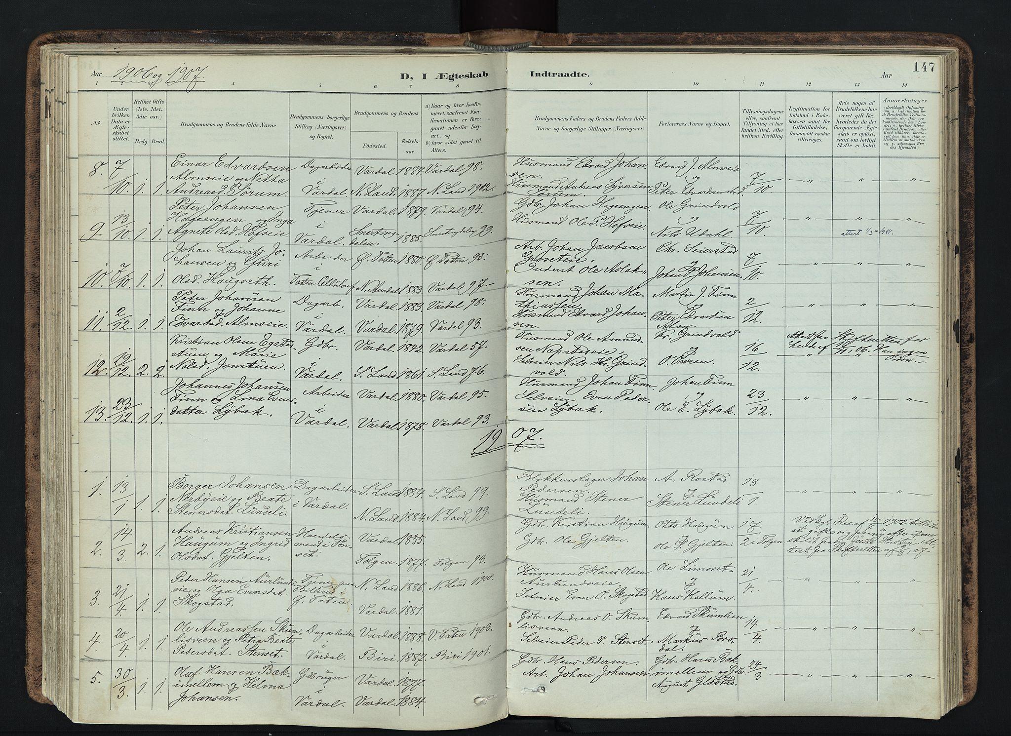 SAH, Vardal prestekontor, H/Ha/Haa/L0019: Ministerialbok nr. 19, 1893-1907, s. 147