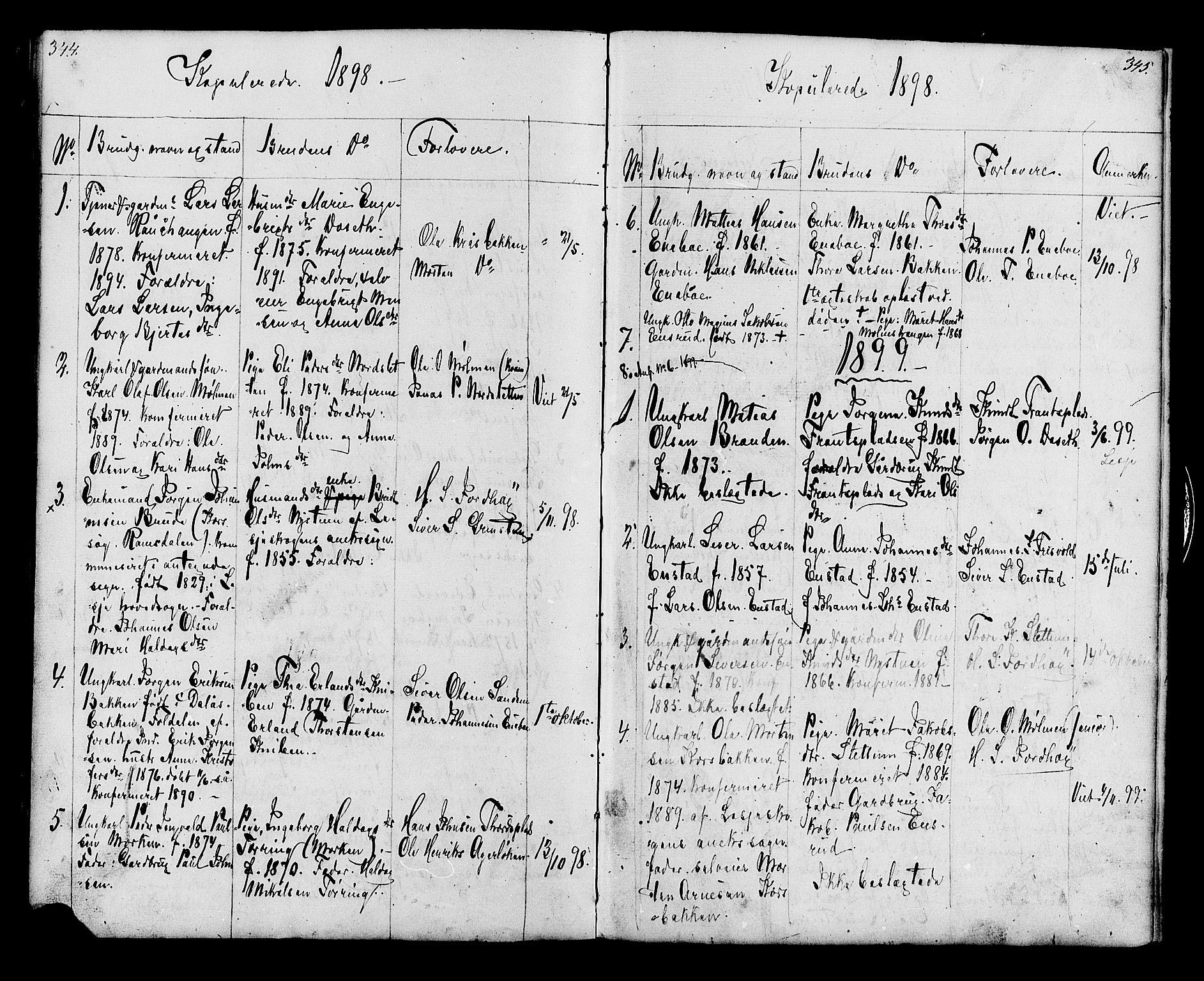SAH, Lesja prestekontor, Klokkerbok nr. 6, 1871-1904, s. 344-345