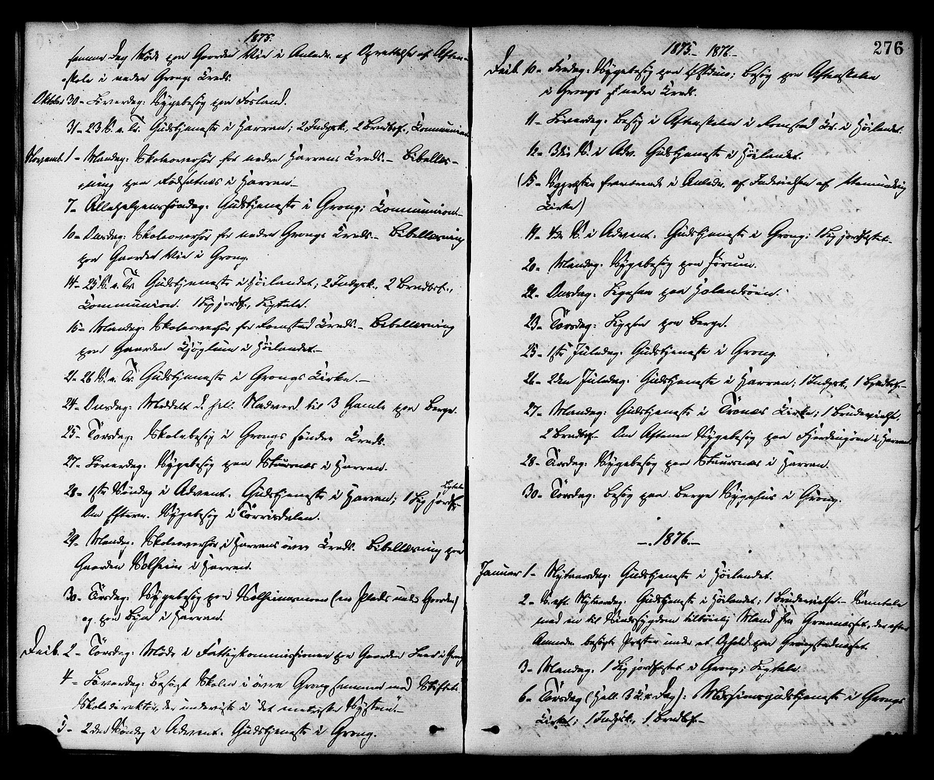 SAT, Ministerialprotokoller, klokkerbøker og fødselsregistre - Nord-Trøndelag, 758/L0516: Ministerialbok nr. 758A03 /1, 1869-1879, s. 276