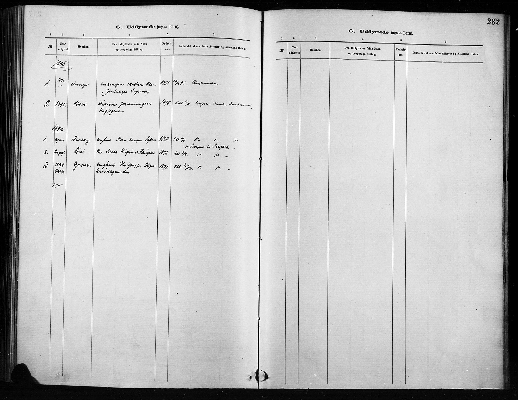 SAH, Nordre Land prestekontor, Ministerialbok nr. 4, 1882-1896, s. 232