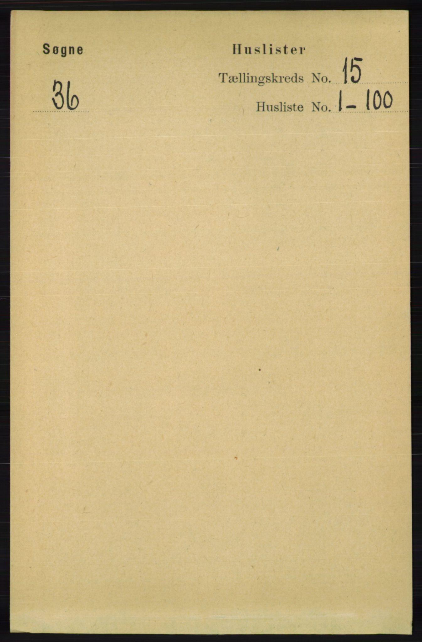 RA, Folketelling 1891 for 1018 Søgne herred, 1891, s. 3797