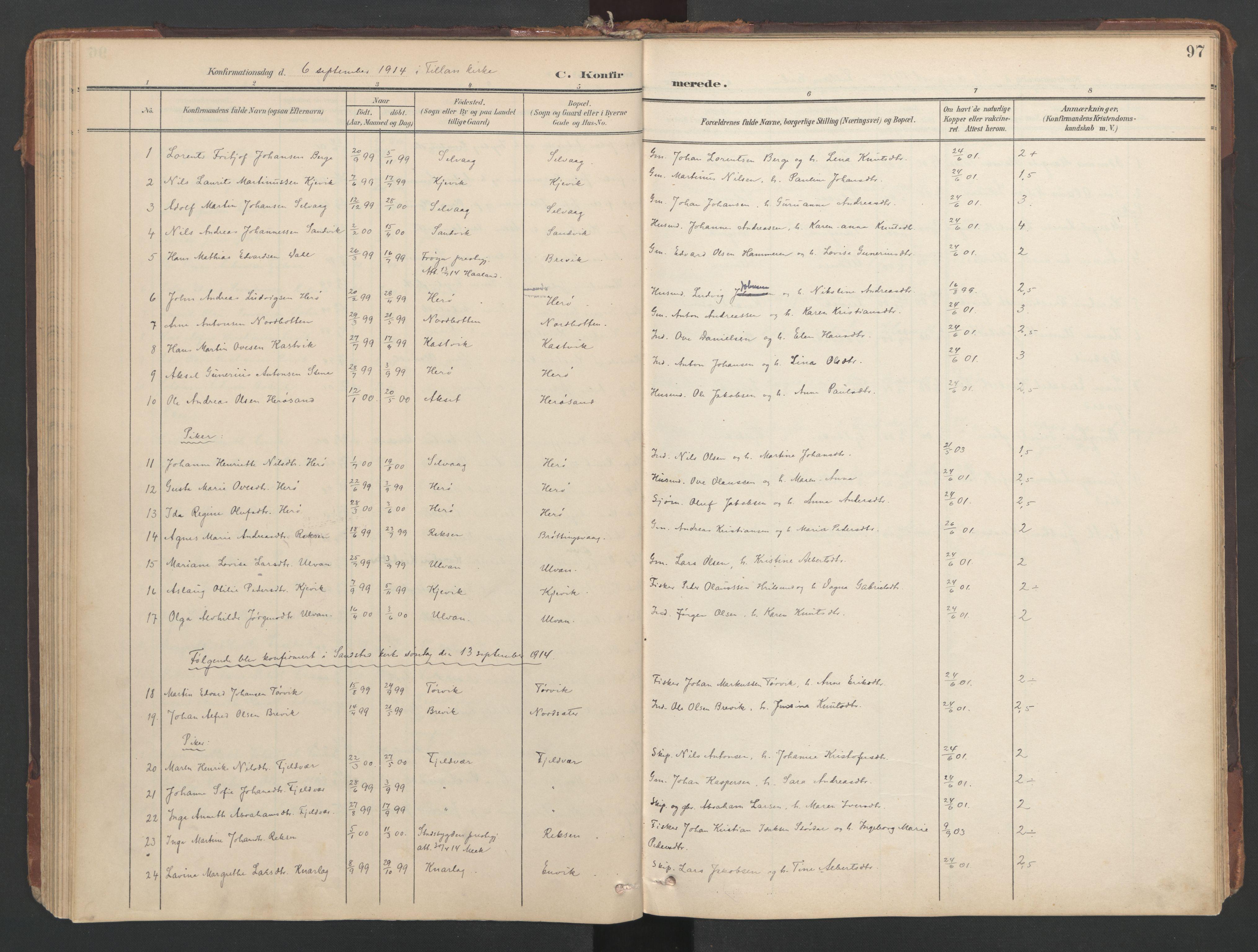SAT, Ministerialprotokoller, klokkerbøker og fødselsregistre - Sør-Trøndelag, 638/L0568: Ministerialbok nr. 638A01, 1901-1916, s. 97