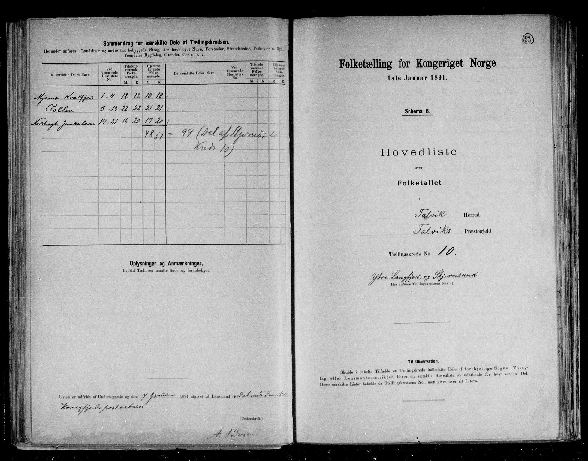 RA, Folketelling 1891 for 2013 Talvik herred, 1891, s. 26