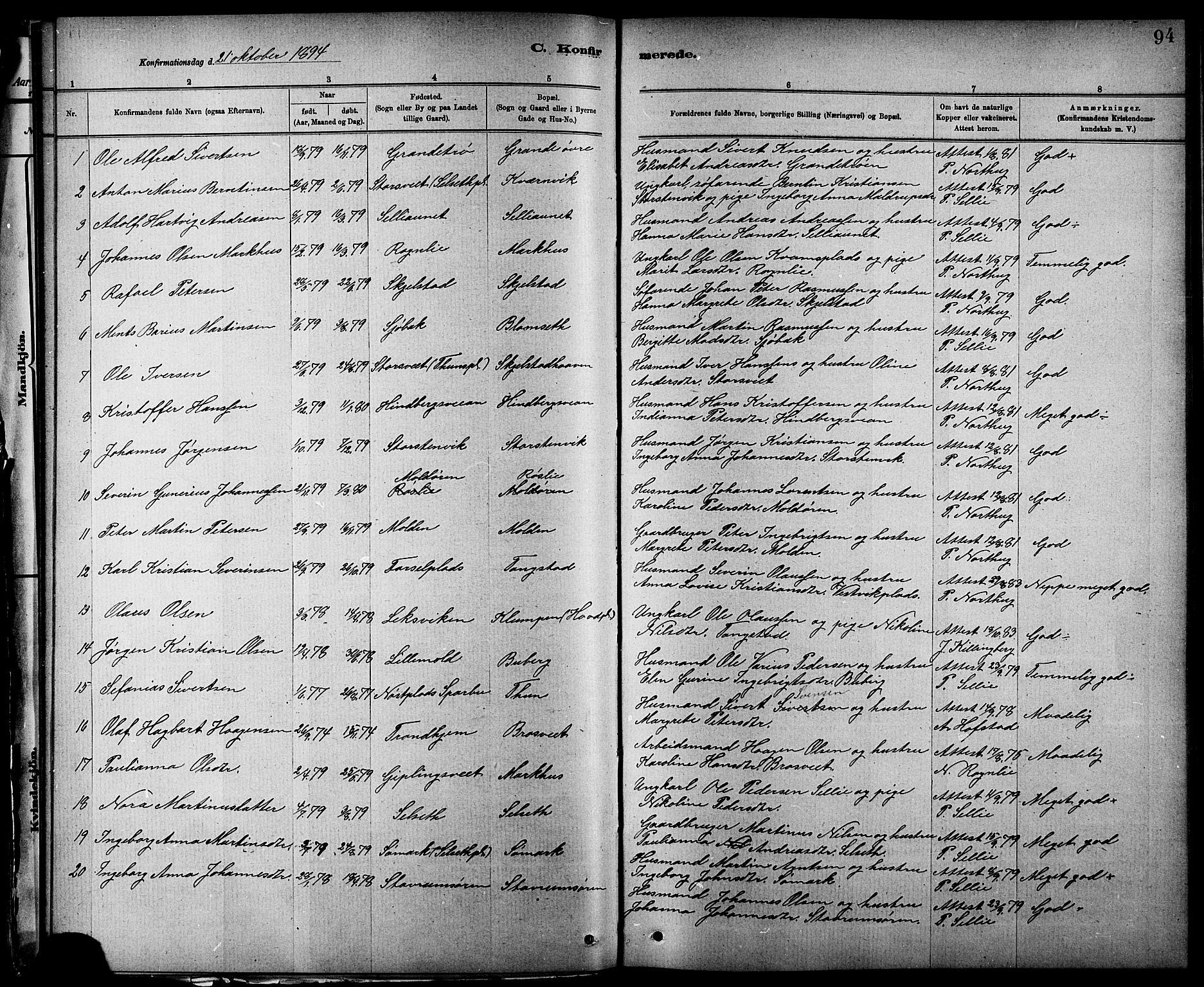 SAT, Ministerialprotokoller, klokkerbøker og fødselsregistre - Nord-Trøndelag, 744/L0423: Klokkerbok nr. 744C02, 1886-1905, s. 94