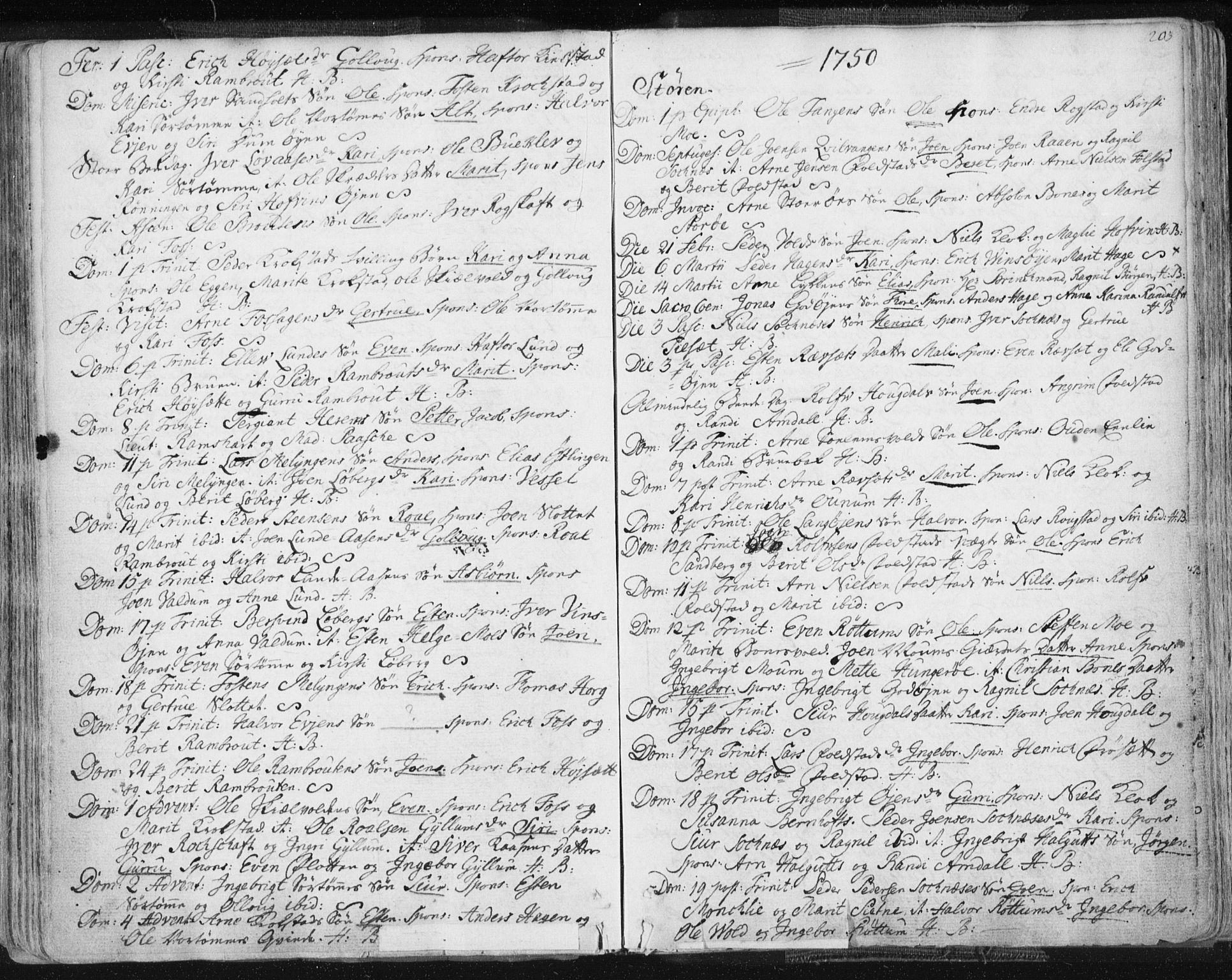 SAT, Ministerialprotokoller, klokkerbøker og fødselsregistre - Sør-Trøndelag, 687/L0991: Ministerialbok nr. 687A02, 1747-1790, s. 203