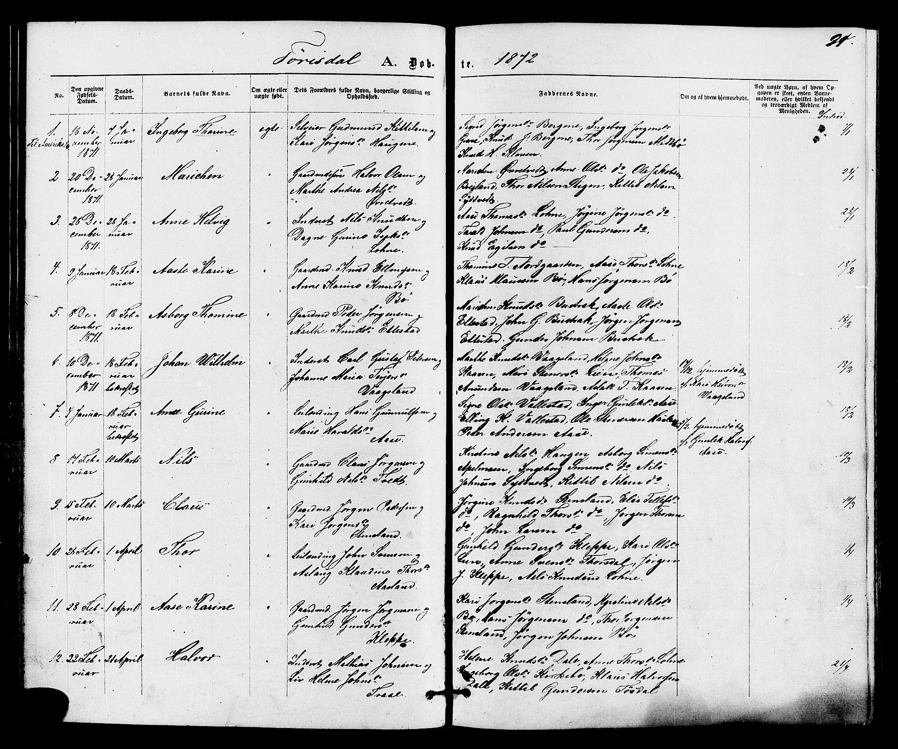 SAKO, Drangedal kirkebøker, F/Fa/L0009: Ministerialbok nr. 9 /2, 1872-1884, s. 91