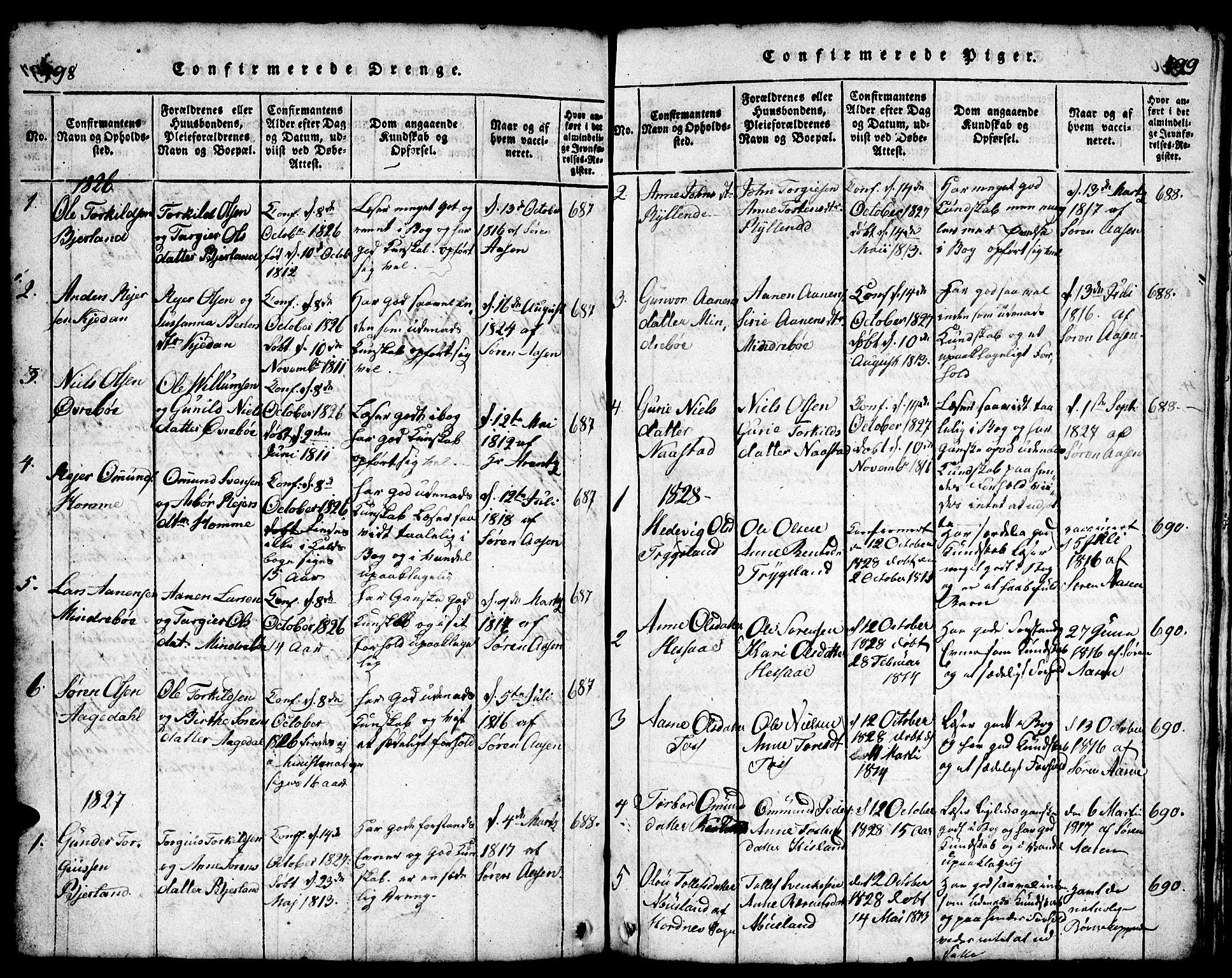 SAK, Bjelland sokneprestkontor, F/Fb/Fba/L0003: Klokkerbok nr. B 3, 1816-1870, s. 498-499