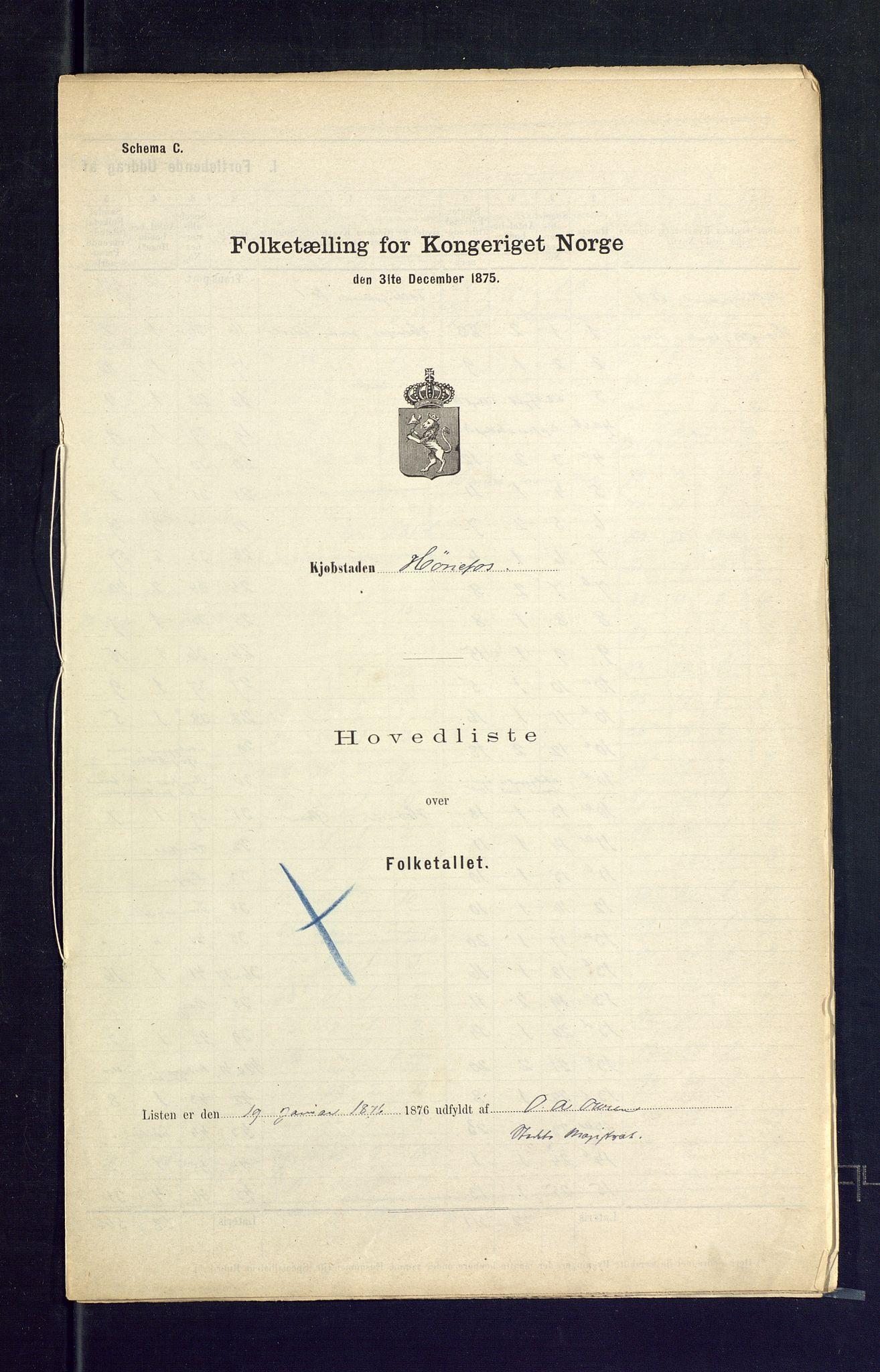 SAKO, Folketelling 1875 for 0601B Norderhov prestegjeld, Hønefoss kjøpstad, 1875, s. 1