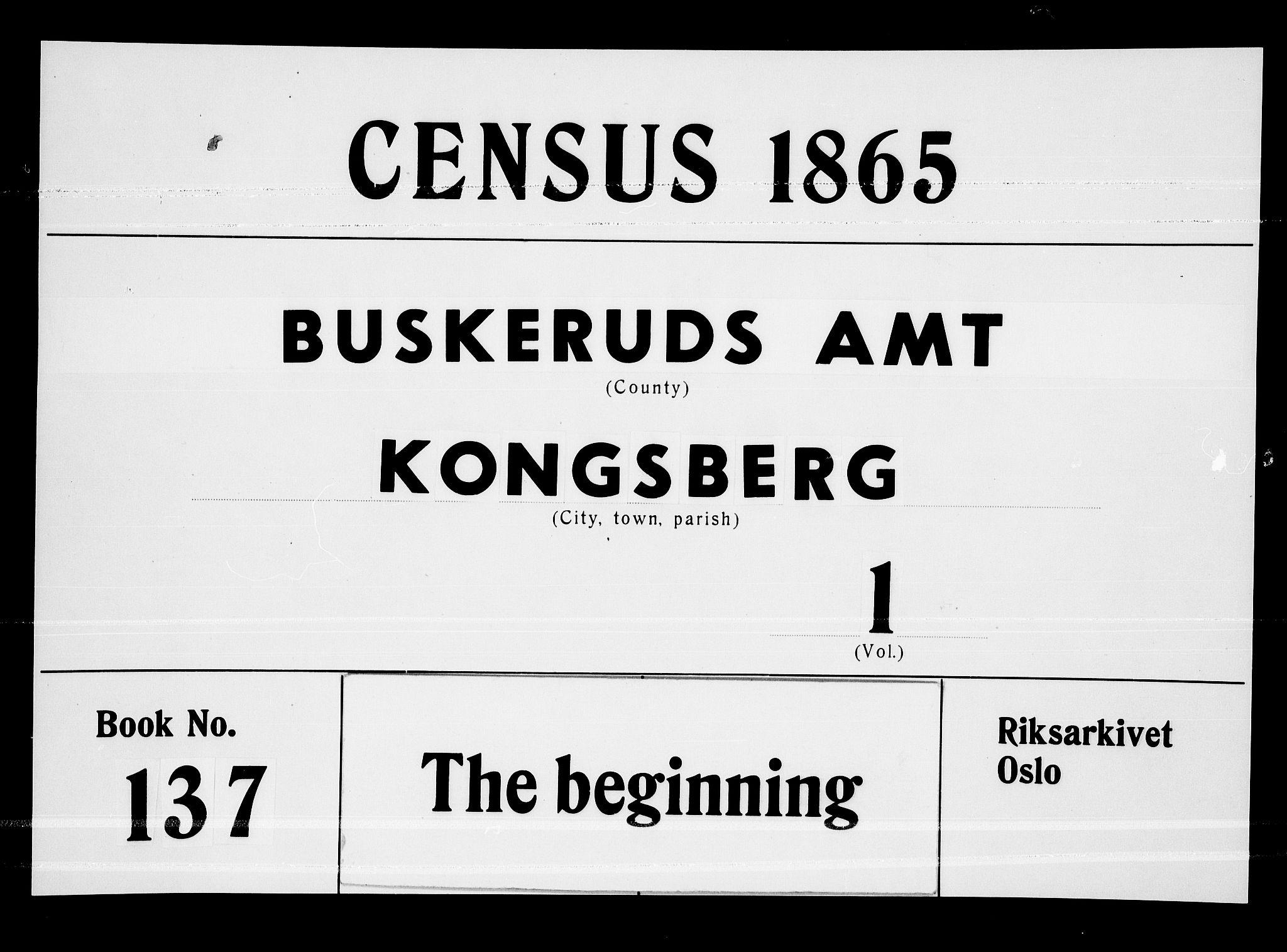 RA, Folketelling 1865 for 0604B Kongsberg prestegjeld, Kongsberg kjøpstad, 1865, s. 1