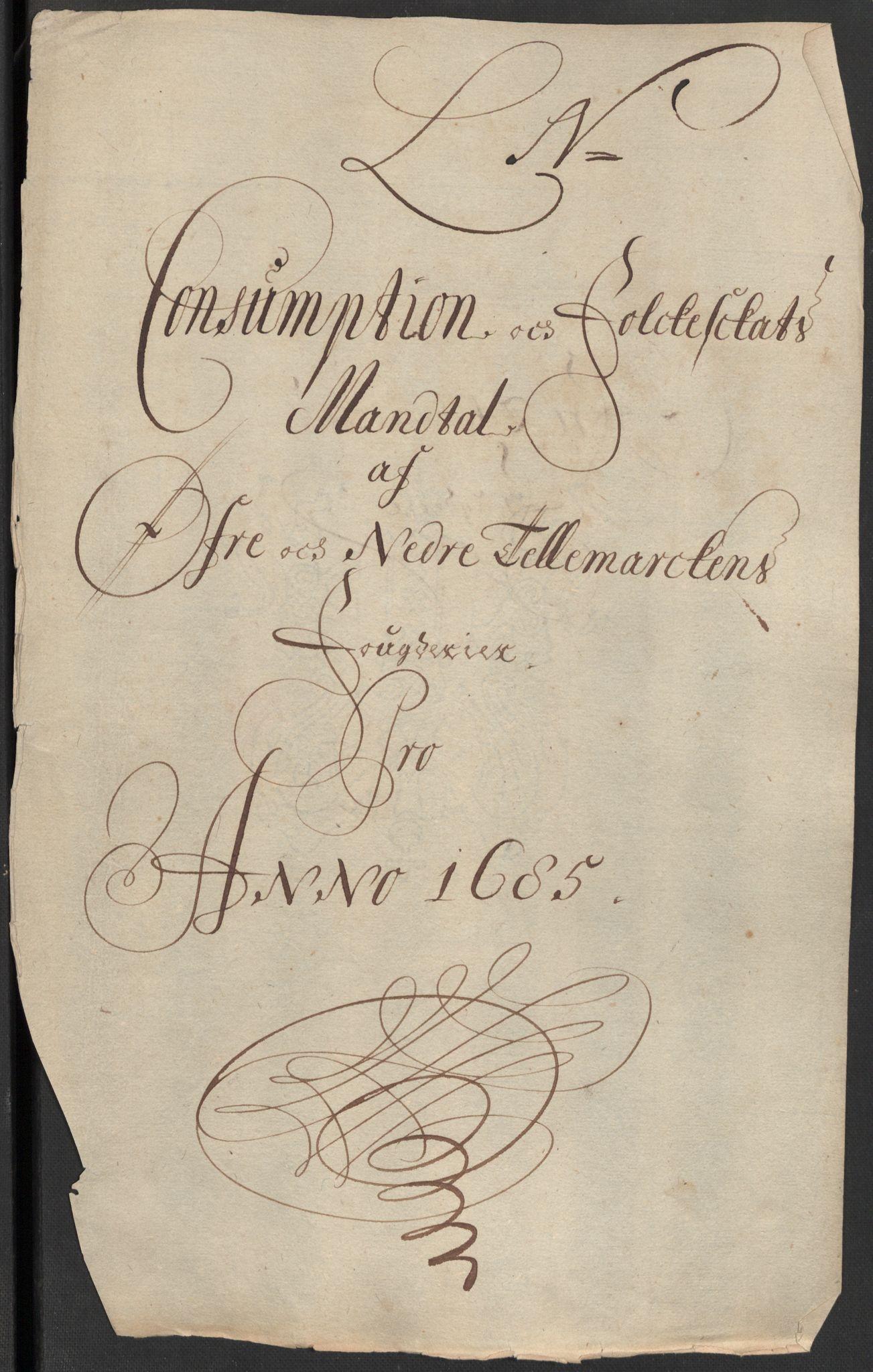 RA, Rentekammeret inntil 1814, Reviderte regnskaper, Fogderegnskap, R35/L2082: Fogderegnskap Øvre og Nedre Telemark, 1685, s. 349