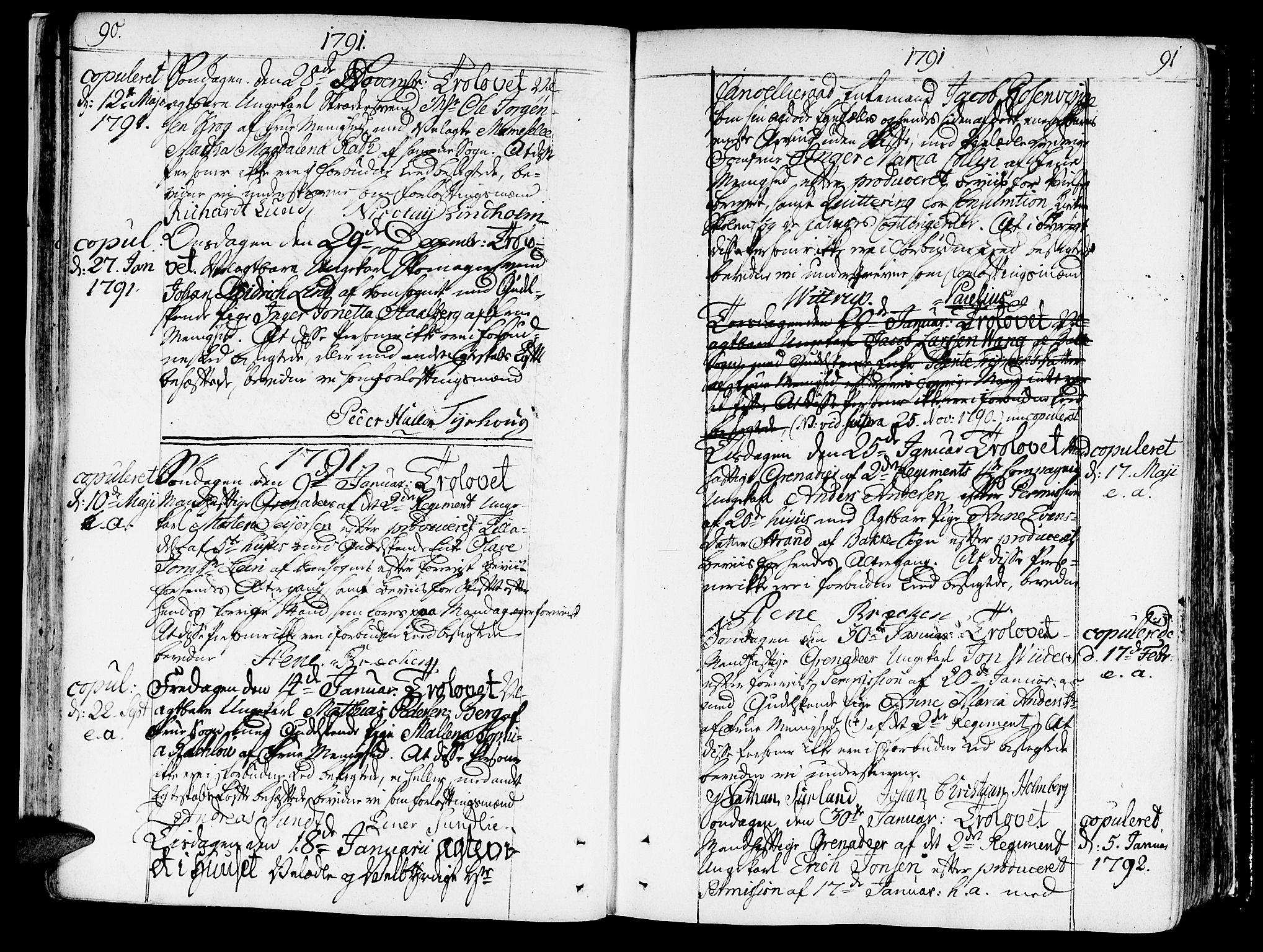 SAT, Ministerialprotokoller, klokkerbøker og fødselsregistre - Sør-Trøndelag, 602/L0105: Ministerialbok nr. 602A03, 1774-1814, s. 90-91