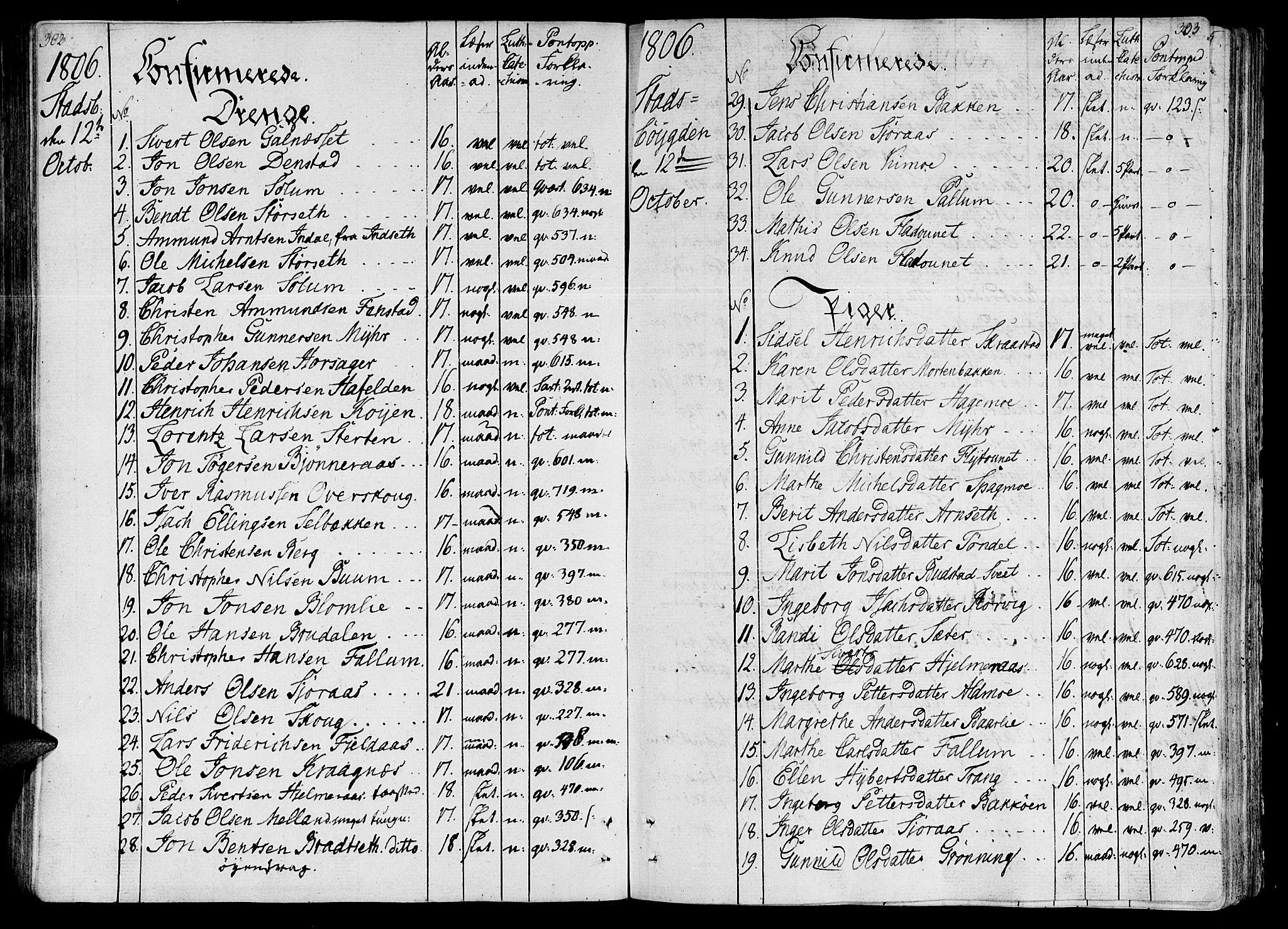 SAT, Ministerialprotokoller, klokkerbøker og fødselsregistre - Sør-Trøndelag, 646/L0607: Ministerialbok nr. 646A05, 1806-1815, s. 302-303