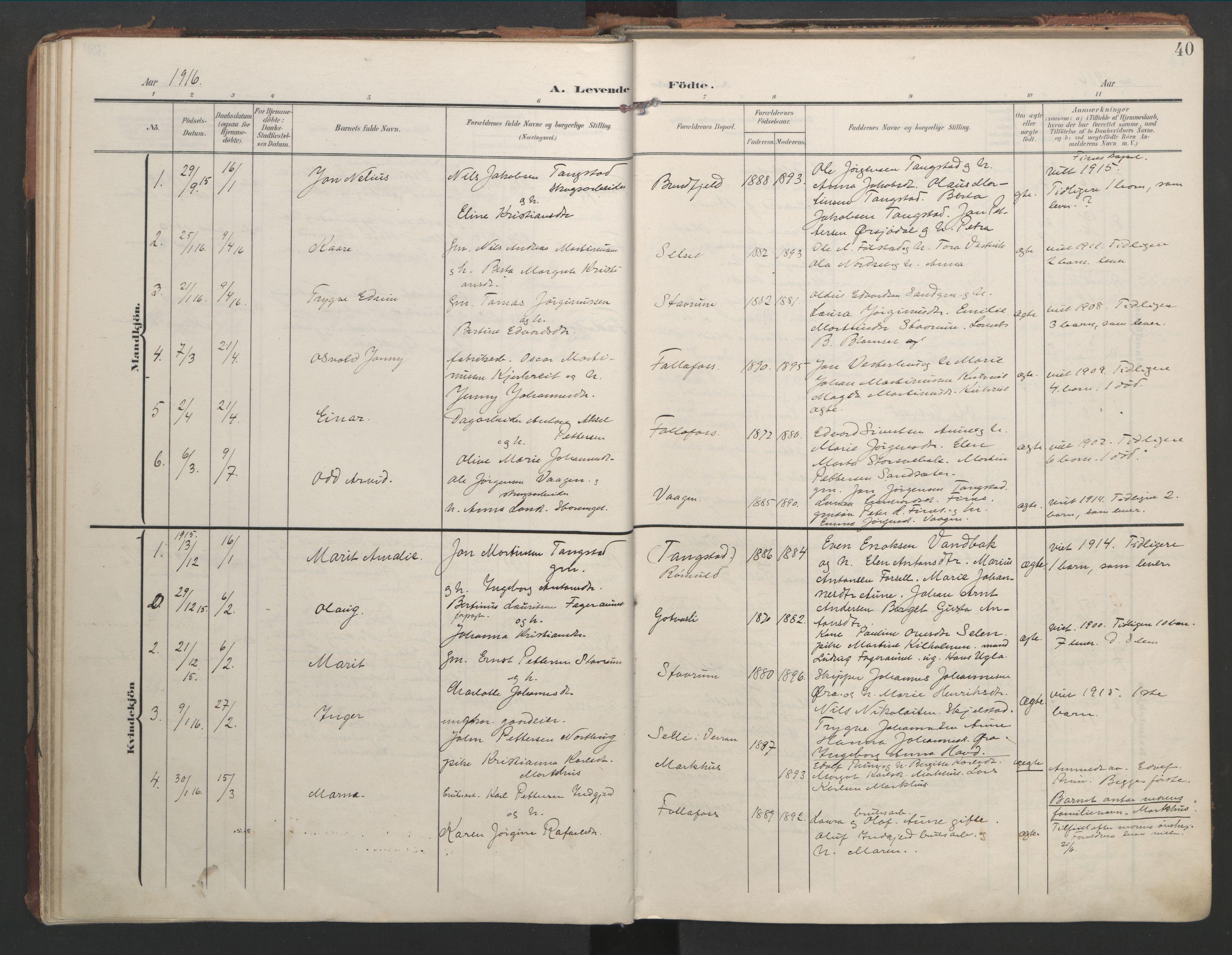 SAT, Ministerialprotokoller, klokkerbøker og fødselsregistre - Nord-Trøndelag, 744/L0421: Ministerialbok nr. 744A05, 1905-1930, s. 40