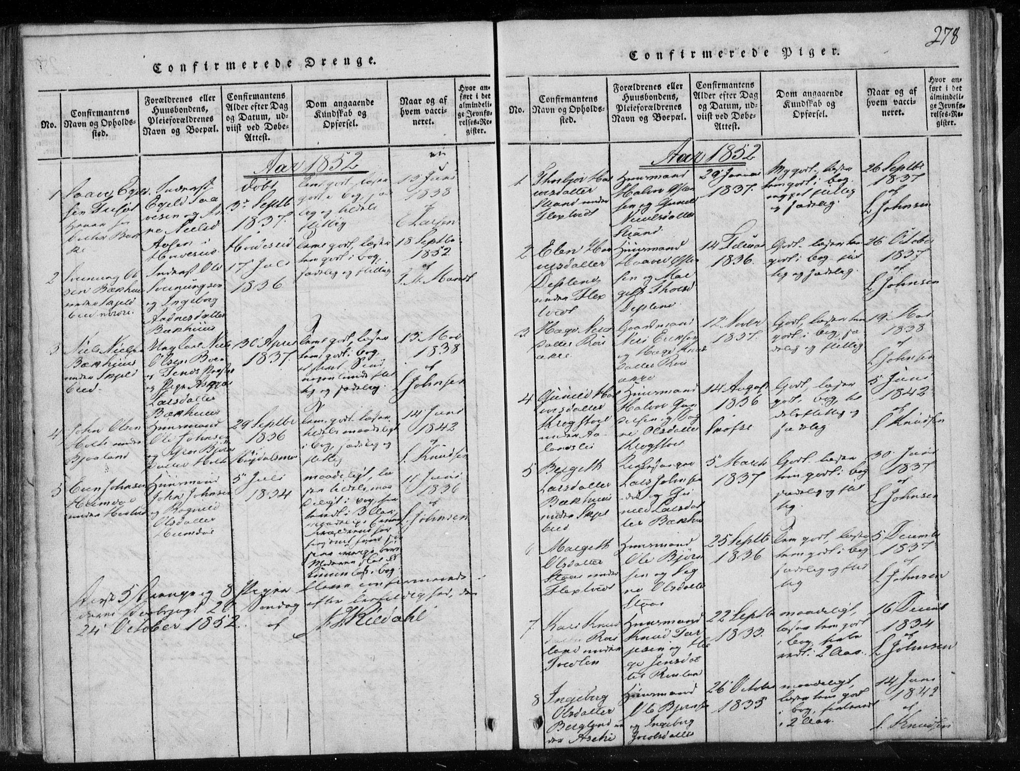 SAKO, Lårdal kirkebøker, F/Fa/L0005: Ministerialbok nr. I 5, 1815-1860, s. 278