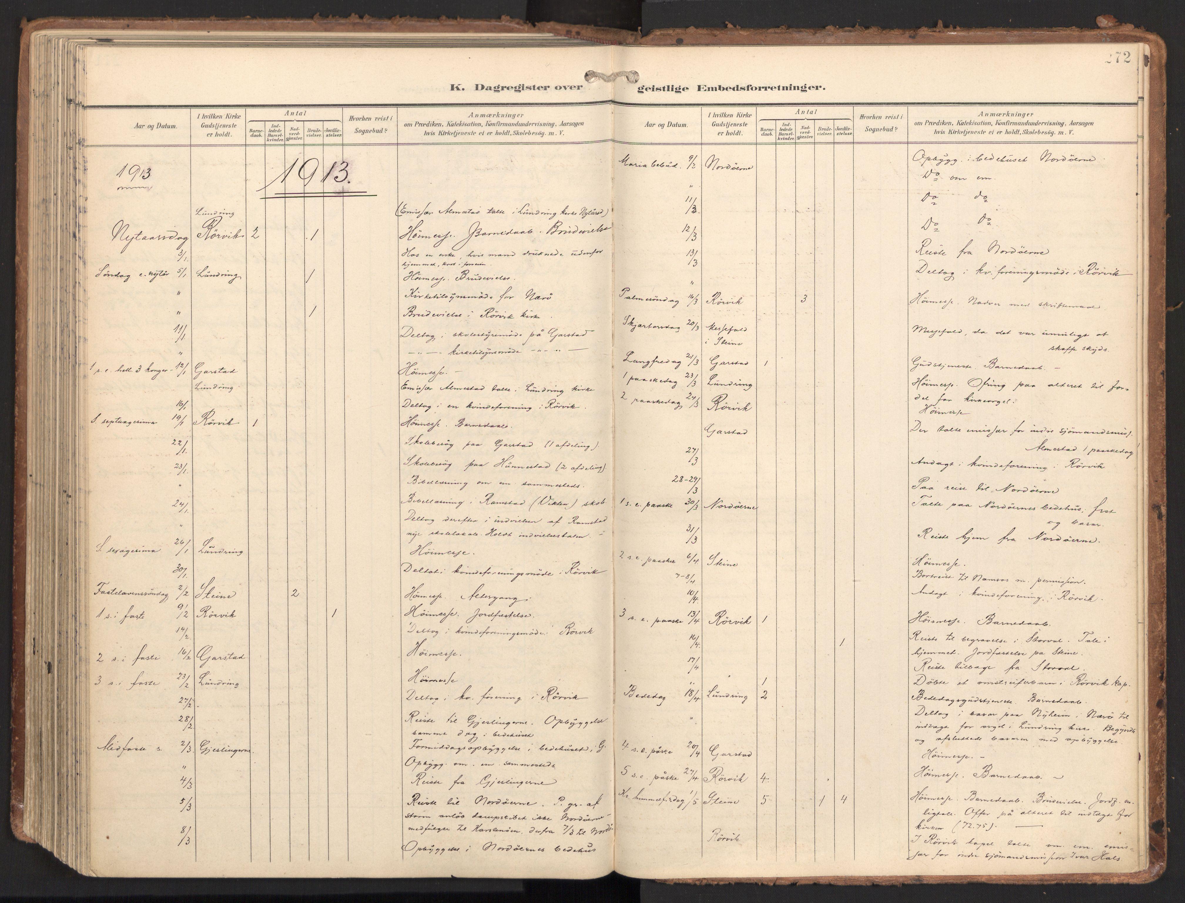 SAT, Ministerialprotokoller, klokkerbøker og fødselsregistre - Nord-Trøndelag, 784/L0677: Ministerialbok nr. 784A12, 1900-1920, s. 272