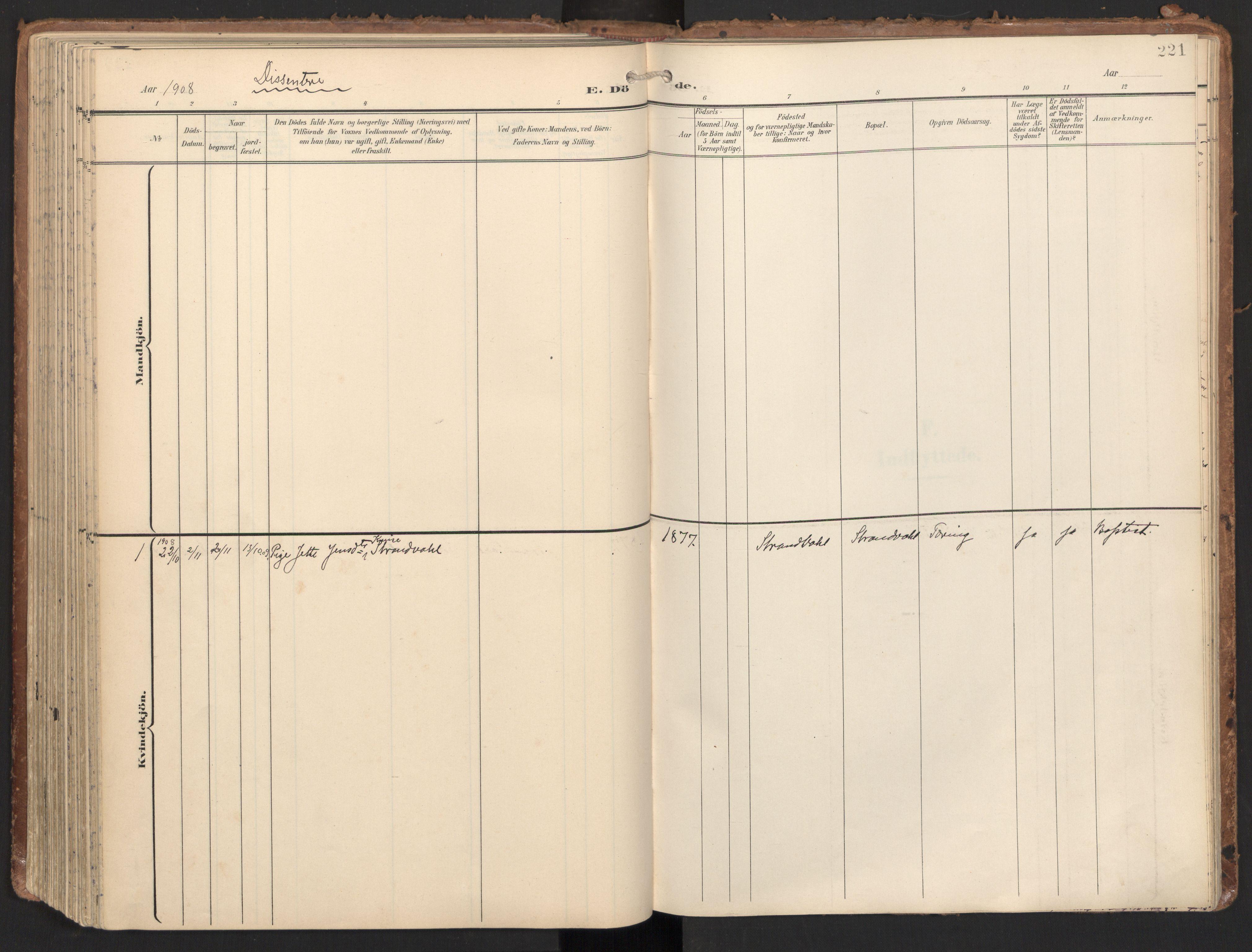 SAT, Ministerialprotokoller, klokkerbøker og fødselsregistre - Nord-Trøndelag, 784/L0677: Ministerialbok nr. 784A12, 1900-1920, s. 221