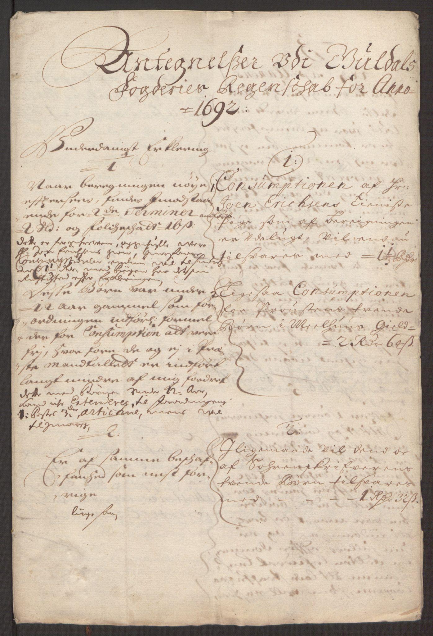 RA, Rentekammeret inntil 1814, Reviderte regnskaper, Fogderegnskap, R59/L3942: Fogderegnskap Gauldal, 1692, s. 300