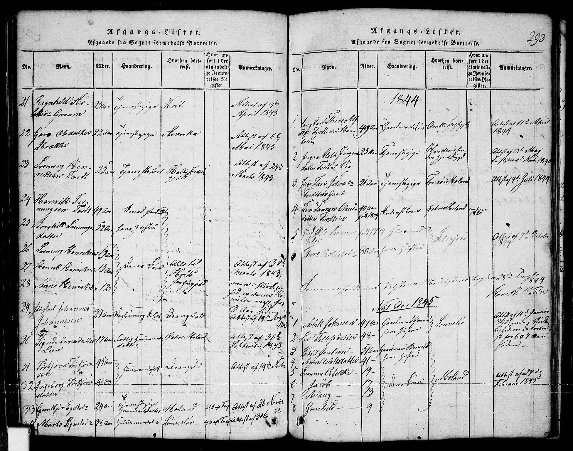 SAKO, Nissedal kirkebøker, G/Ga/L0001: Klokkerbok nr. I 1, 1814-1860, s. 293