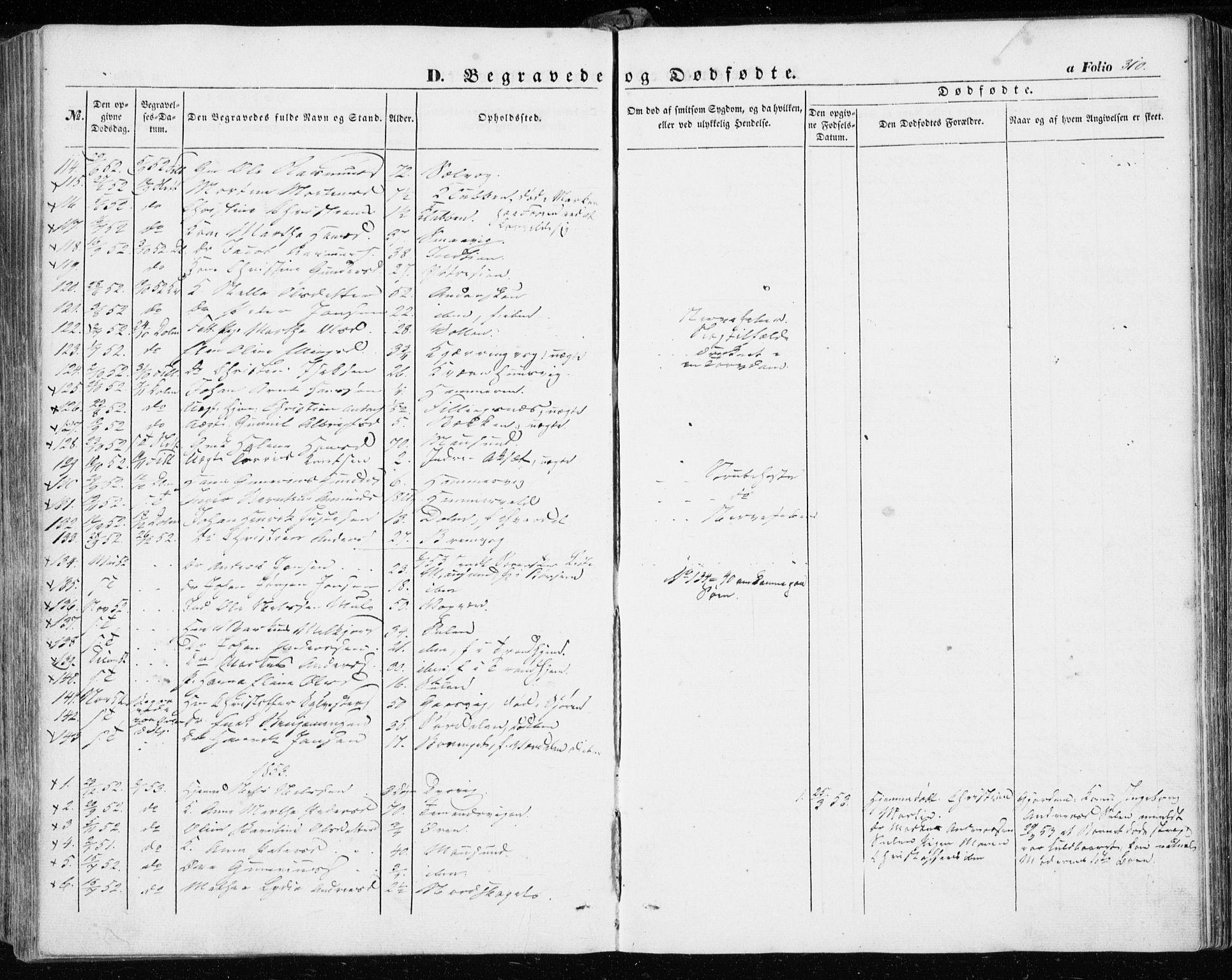 SAT, Ministerialprotokoller, klokkerbøker og fødselsregistre - Sør-Trøndelag, 634/L0530: Ministerialbok nr. 634A06, 1852-1860, s. 310