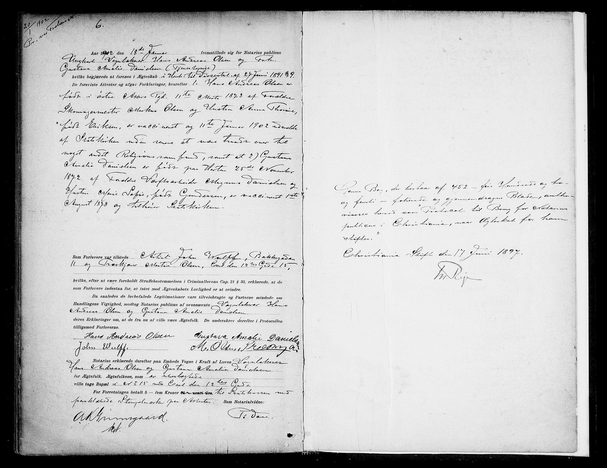 SAO, Oslo byfogd avd. I, L/Lb/Lbb/L0005: Notarialprotokoll, rekke II: Vigsler, 1897-1902, s. 452b-453a