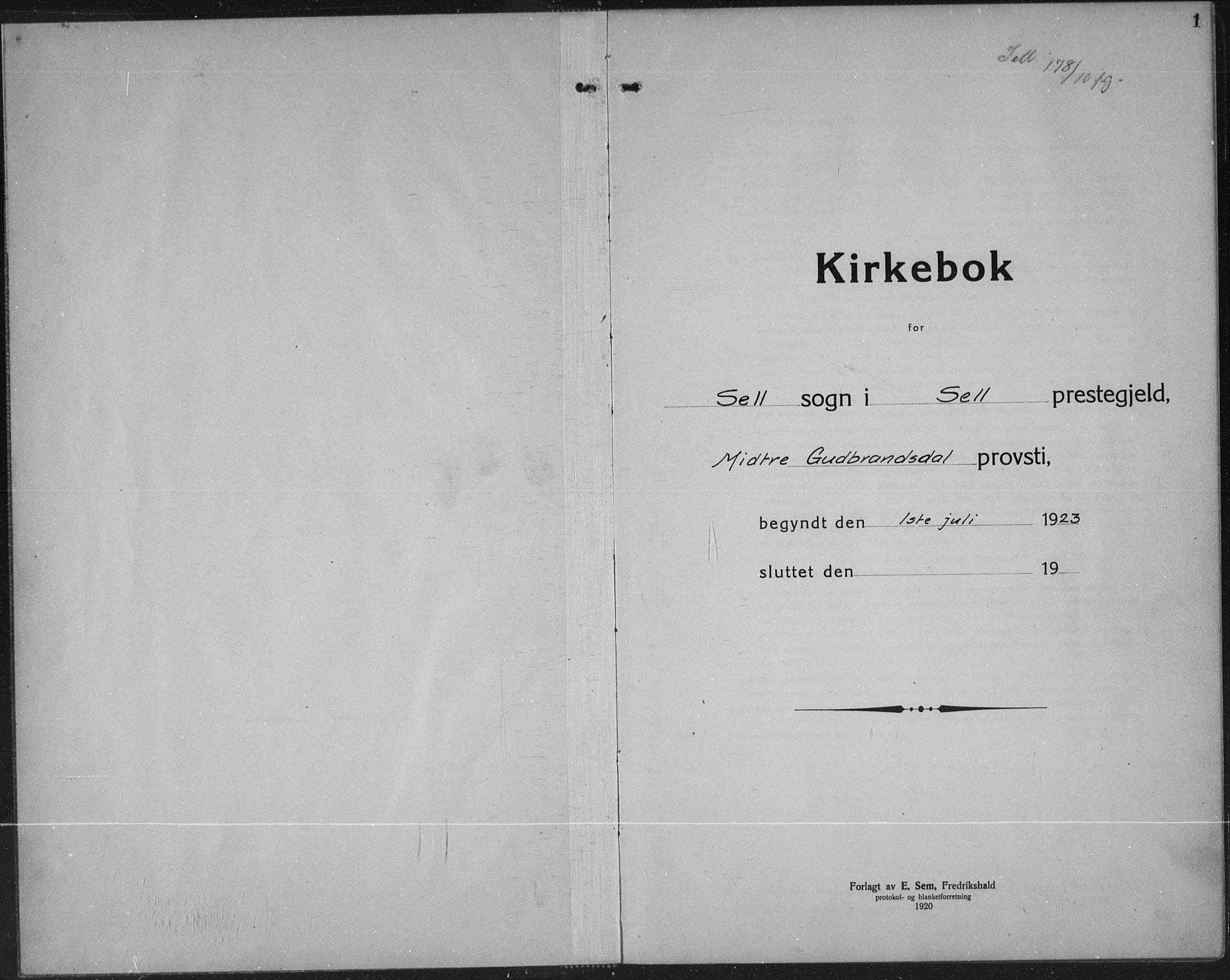 SAH, Sel prestekontor, Klokkerbok nr. 2, 1923-1939, s. 1