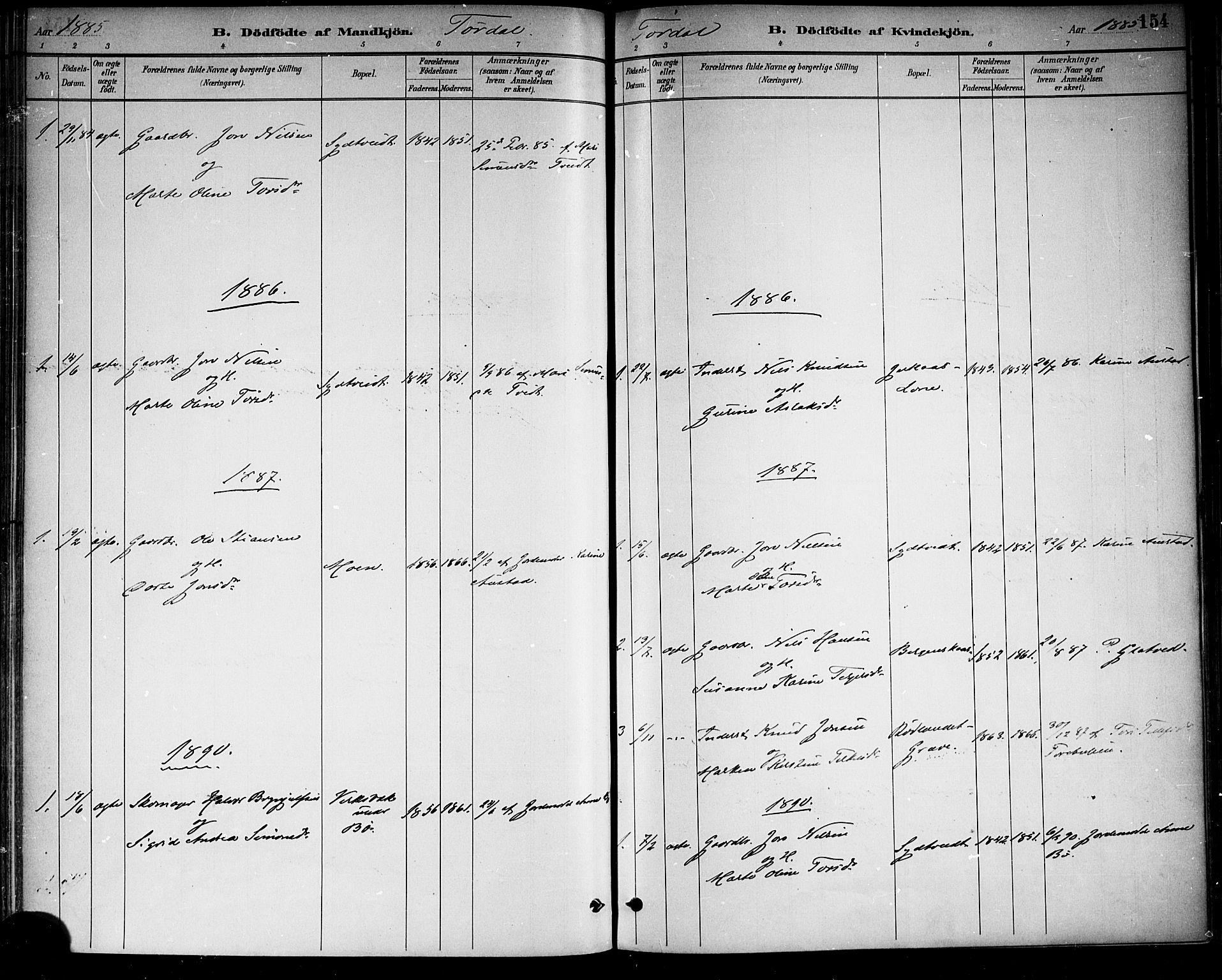 SAKO, Drangedal kirkebøker, F/Fa/L0010: Ministerialbok nr. 10 /2, 1885-1894, s. 154
