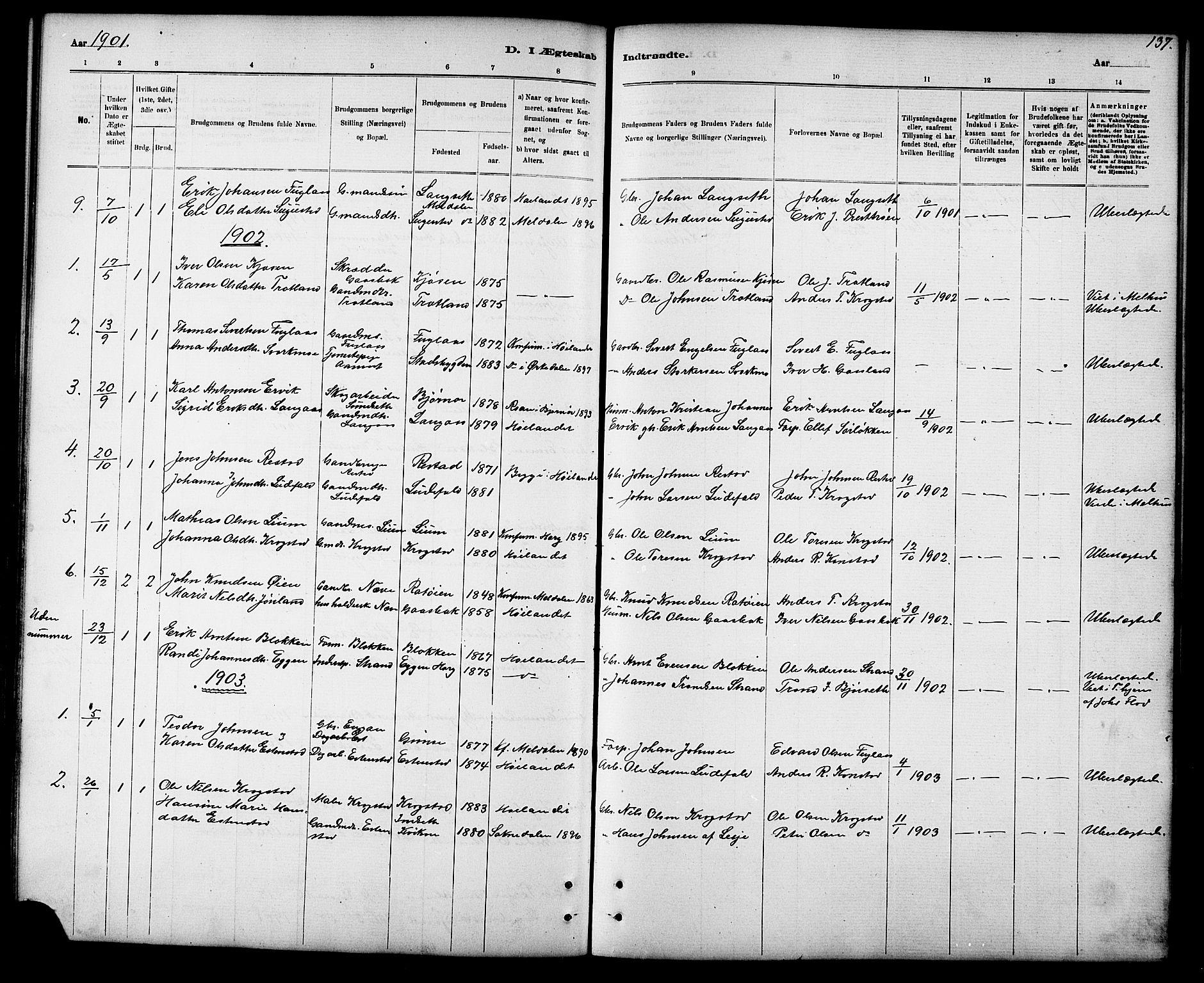 SAT, Ministerialprotokoller, klokkerbøker og fødselsregistre - Sør-Trøndelag, 694/L1132: Klokkerbok nr. 694C04, 1887-1914, s. 137