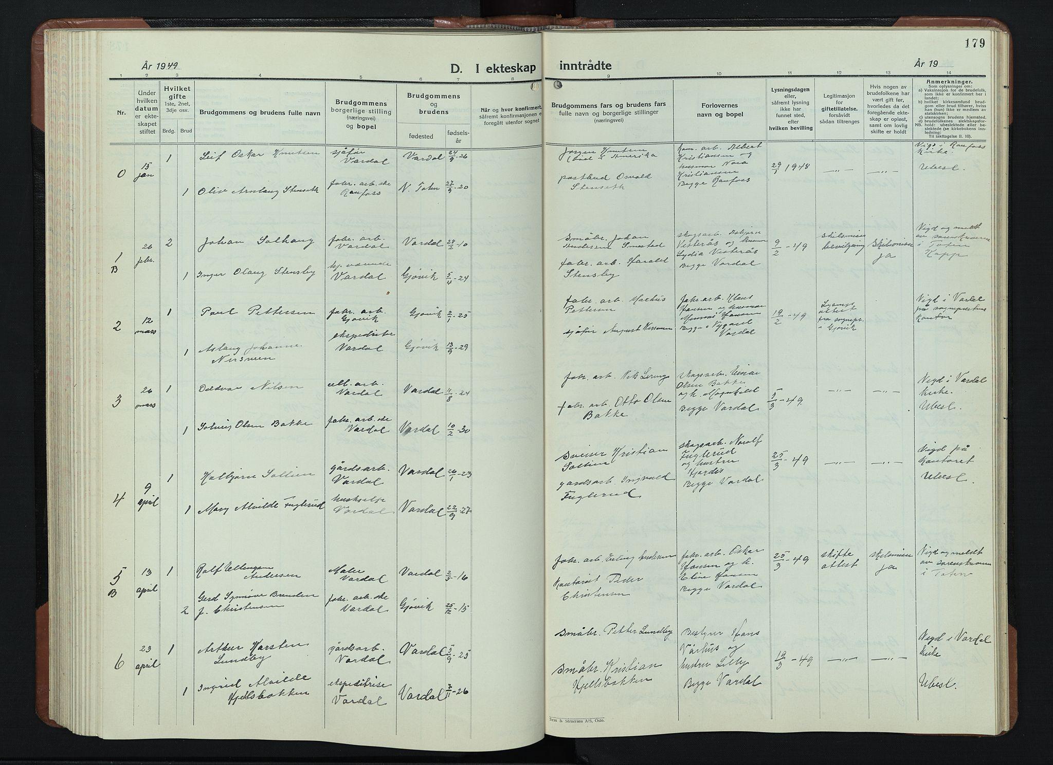 SAH, Vardal prestekontor, H/Ha/Hab/L0018: Klokkerbok nr. 18, 1931-1951, s. 179