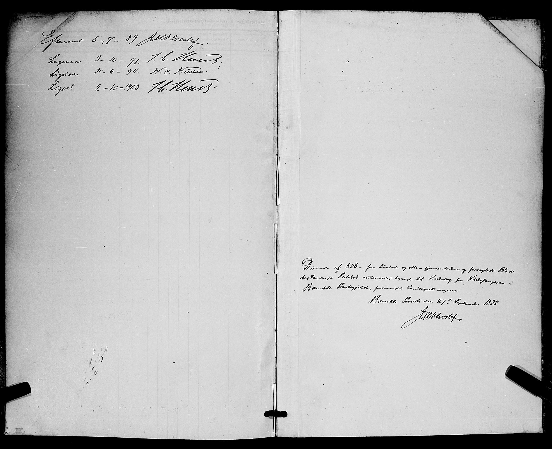 SAKO, Bamble kirkebøker, G/Ga/L0009: Klokkerbok nr. I 9, 1888-1900