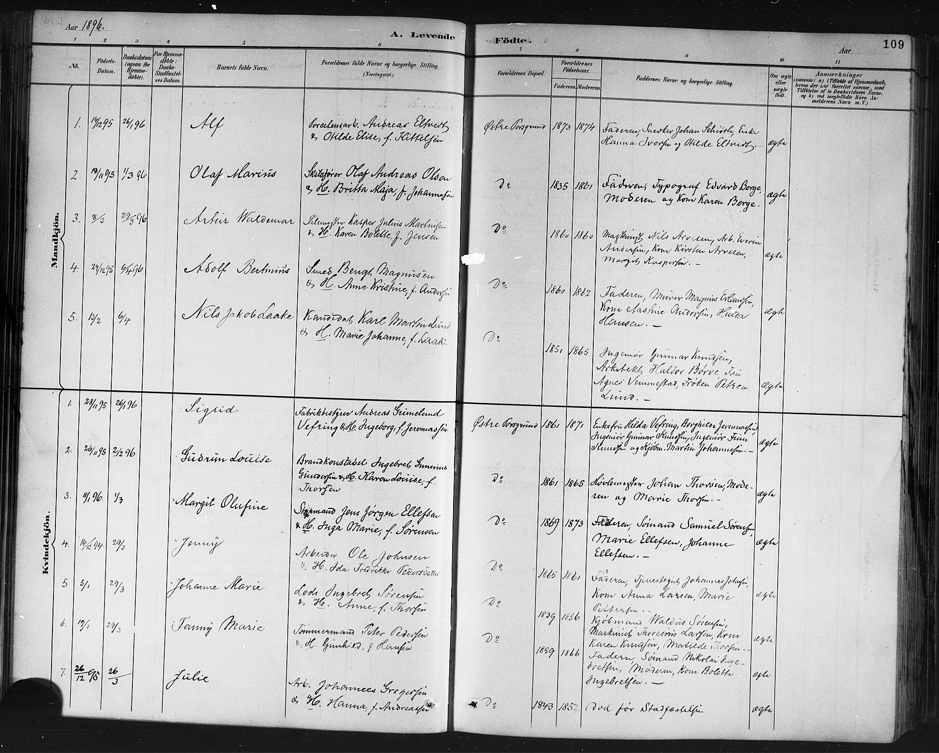 SAKO, Porsgrunn kirkebøker , G/Gb/L0005: Klokkerbok nr. II 5, 1883-1915, s. 109
