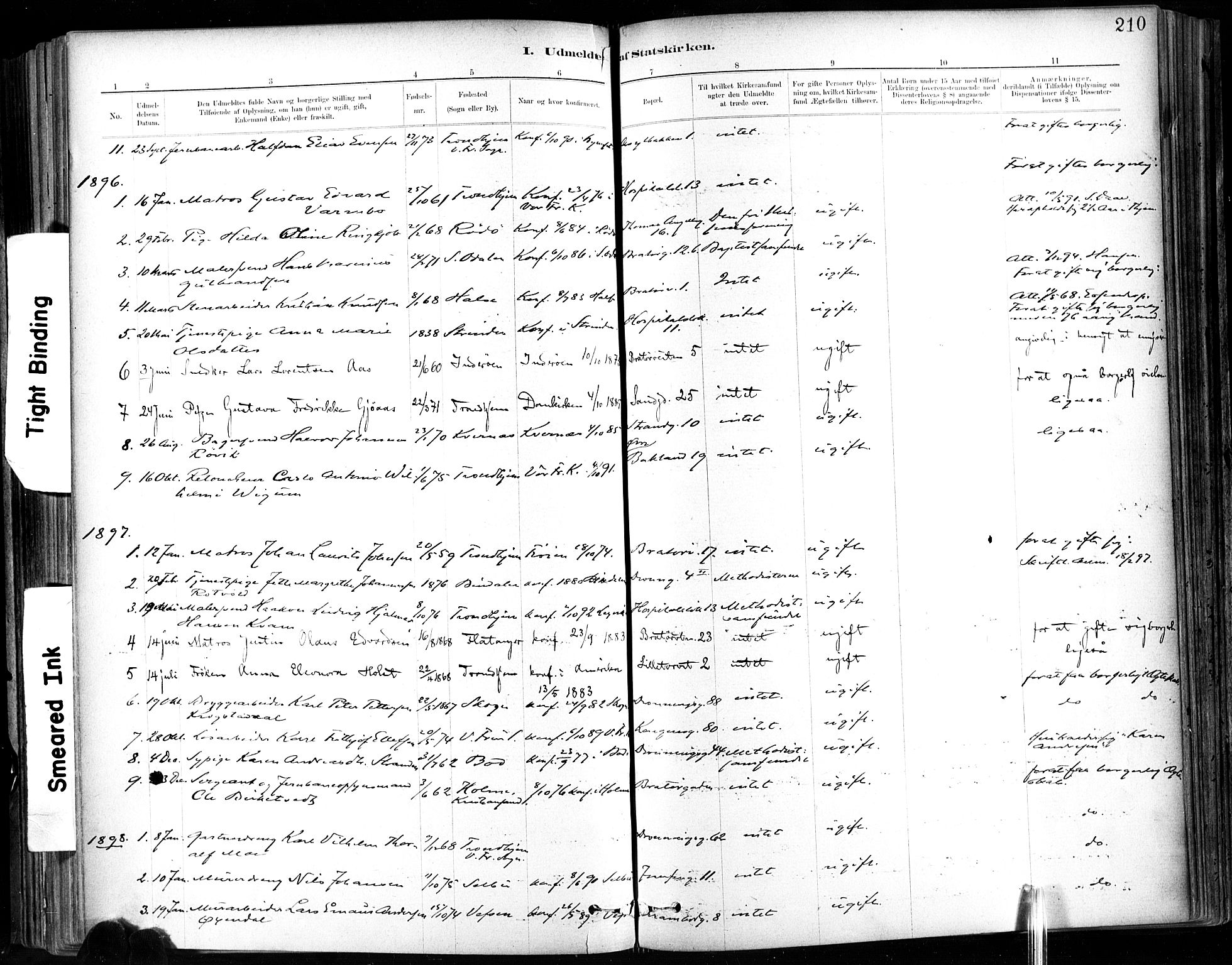 SAT, Ministerialprotokoller, klokkerbøker og fødselsregistre - Sør-Trøndelag, 602/L0120: Ministerialbok nr. 602A18, 1880-1913, s. 210