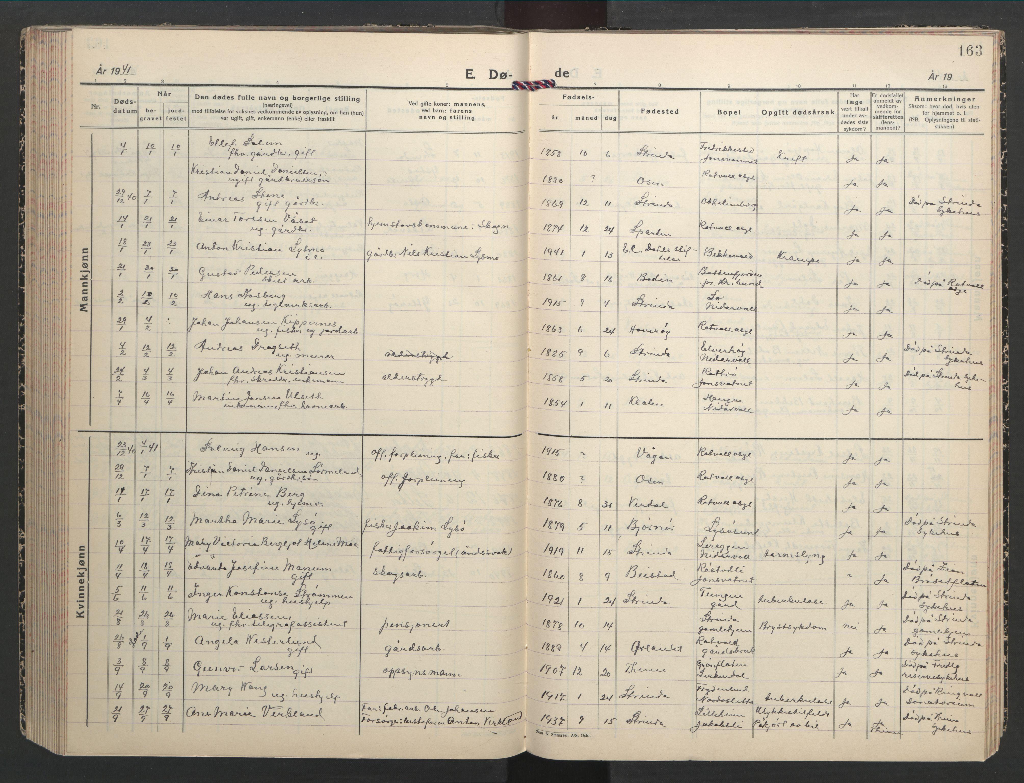 SAT, Ministerialprotokoller, klokkerbøker og fødselsregistre - Sør-Trøndelag, 607/L0328: Klokkerbok nr. 607C02, 1940-1948, s. 163