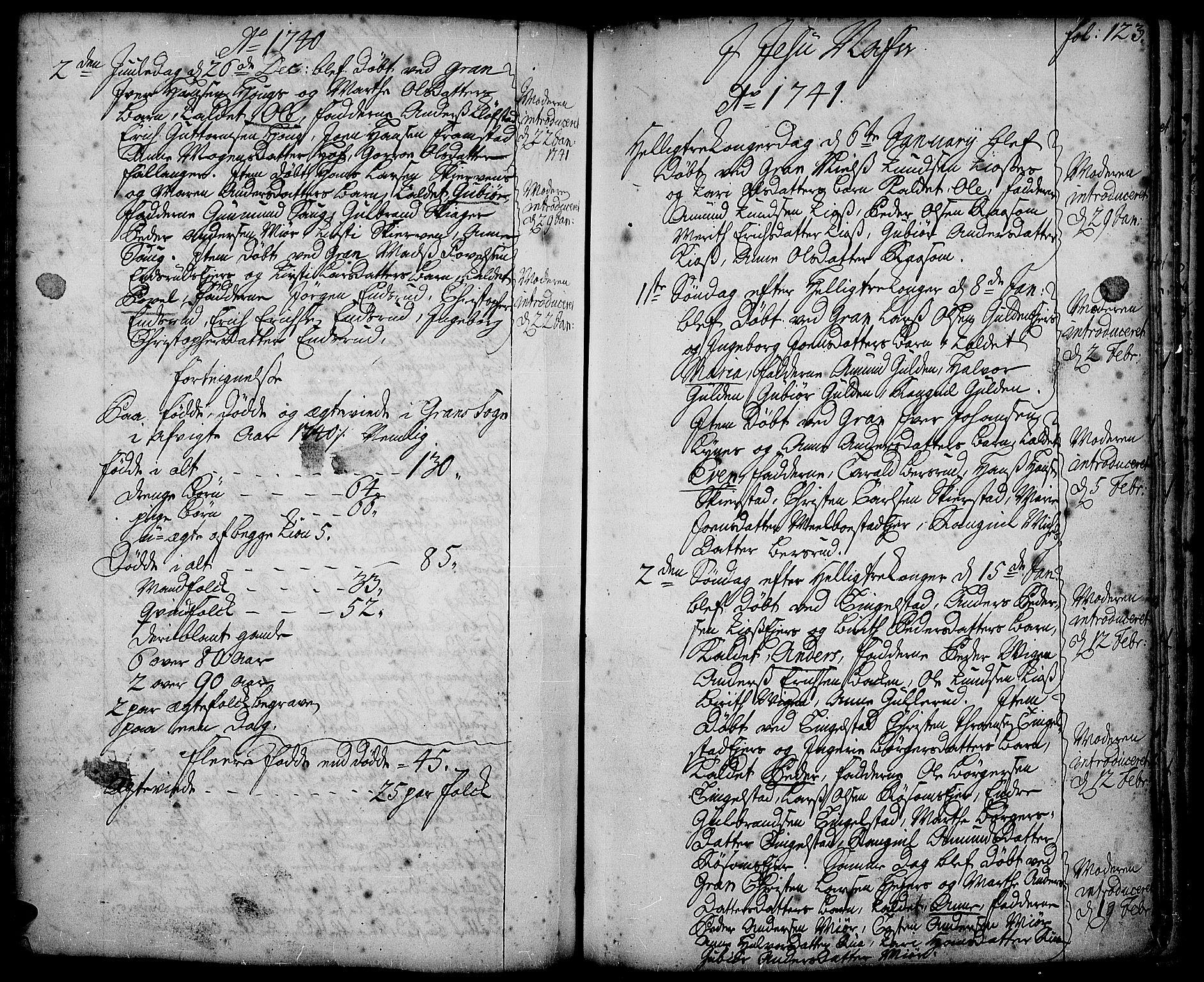 SAH, Gran prestekontor, Ministerialbok nr. 2, 1732-1744, s. 123