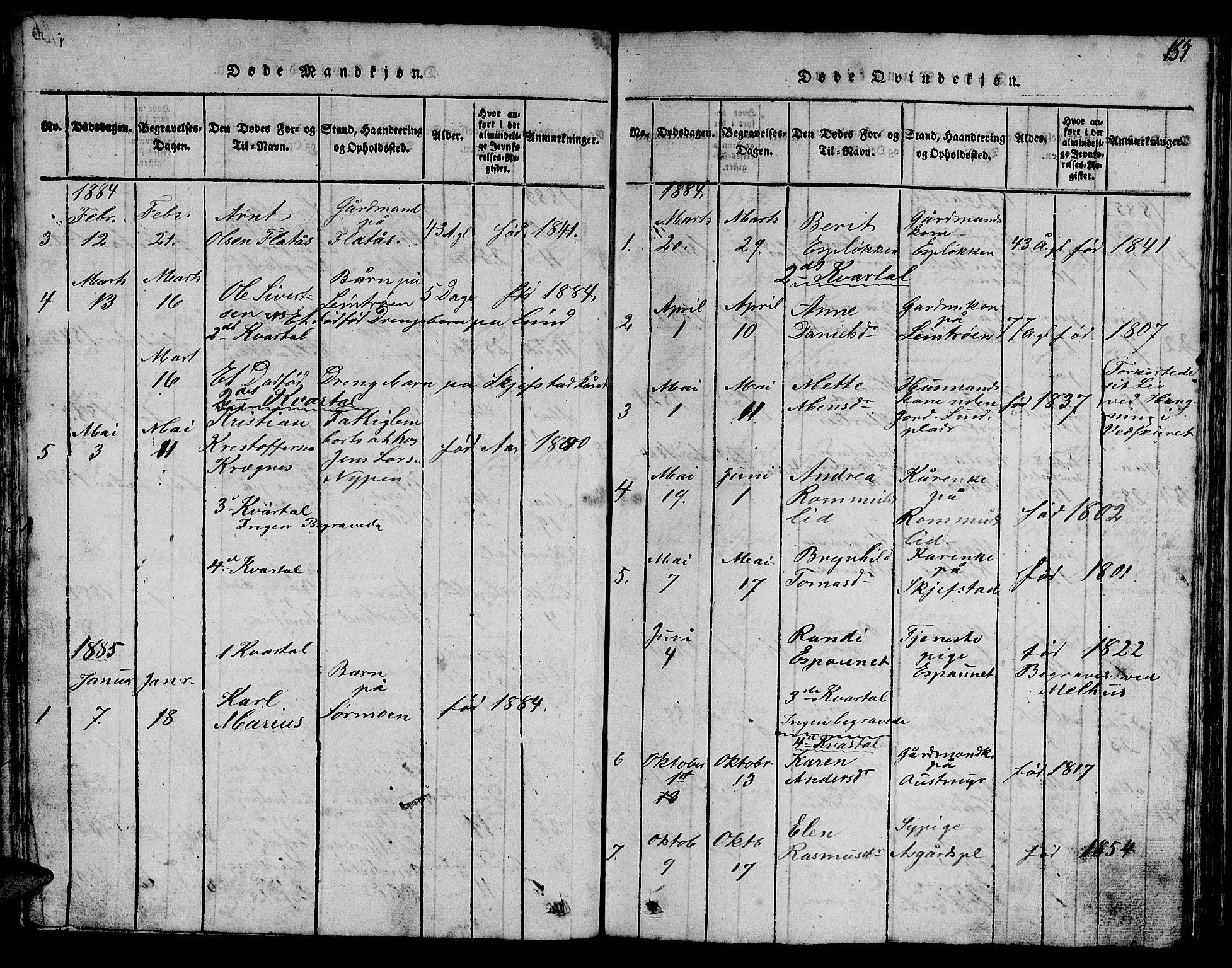 SAT, Ministerialprotokoller, klokkerbøker og fødselsregistre - Sør-Trøndelag, 613/L0393: Klokkerbok nr. 613C01, 1816-1886, s. 157