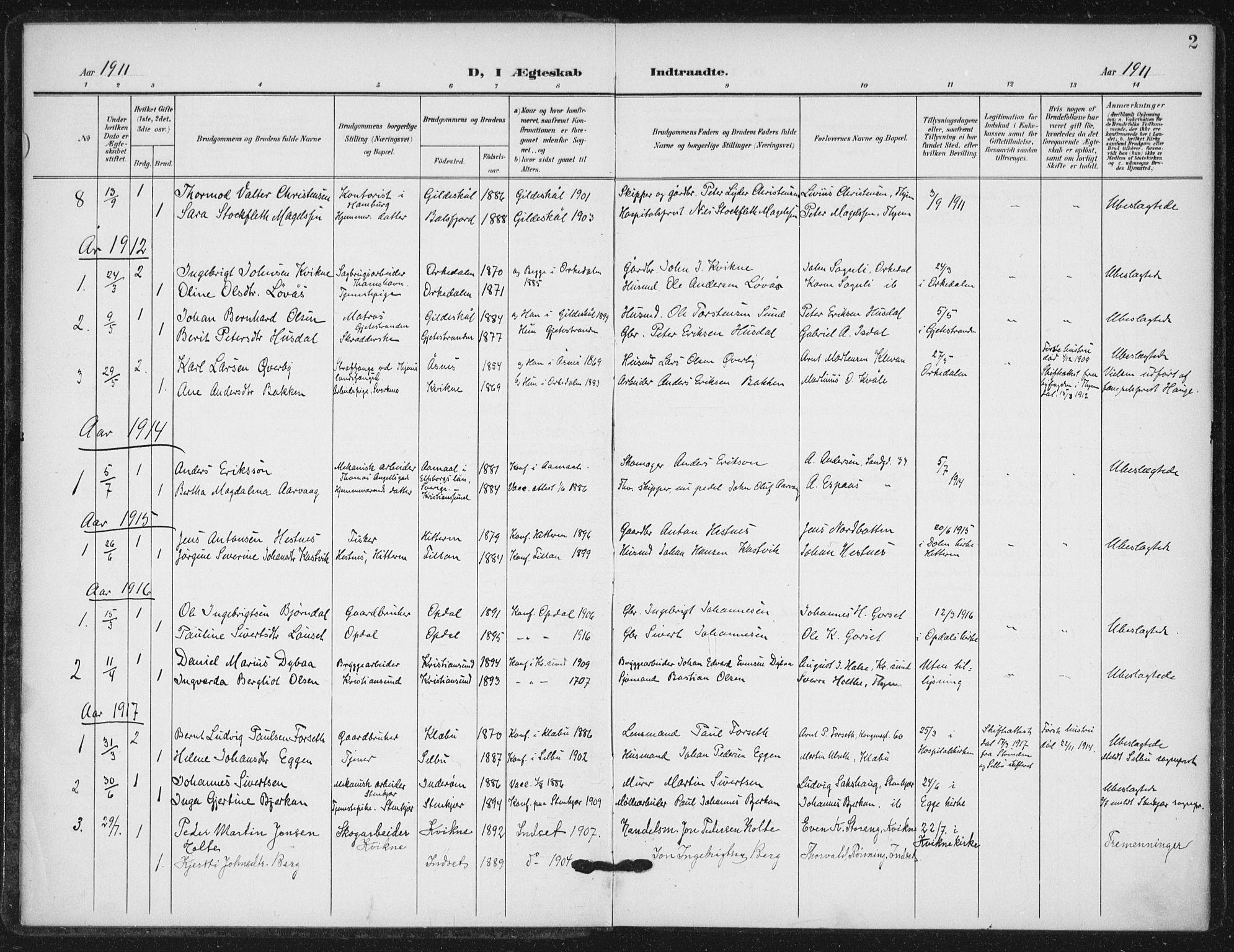 SAT, Ministerialprotokoller, klokkerbøker og fødselsregistre - Sør-Trøndelag, 623/L0472: Ministerialbok nr. 623A06, 1907-1938, s. 2